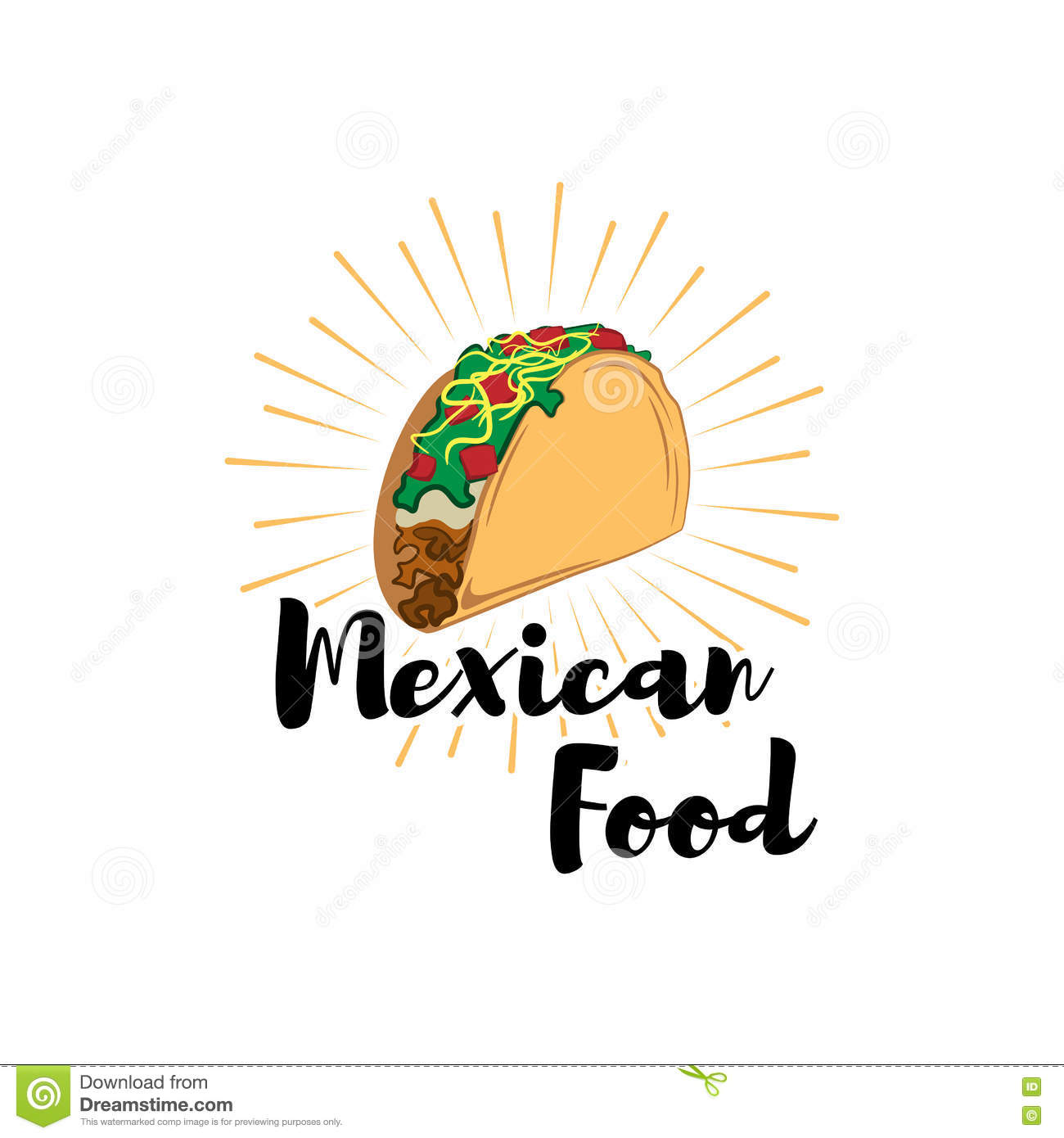 taco traditional mexican food vector label template or concept