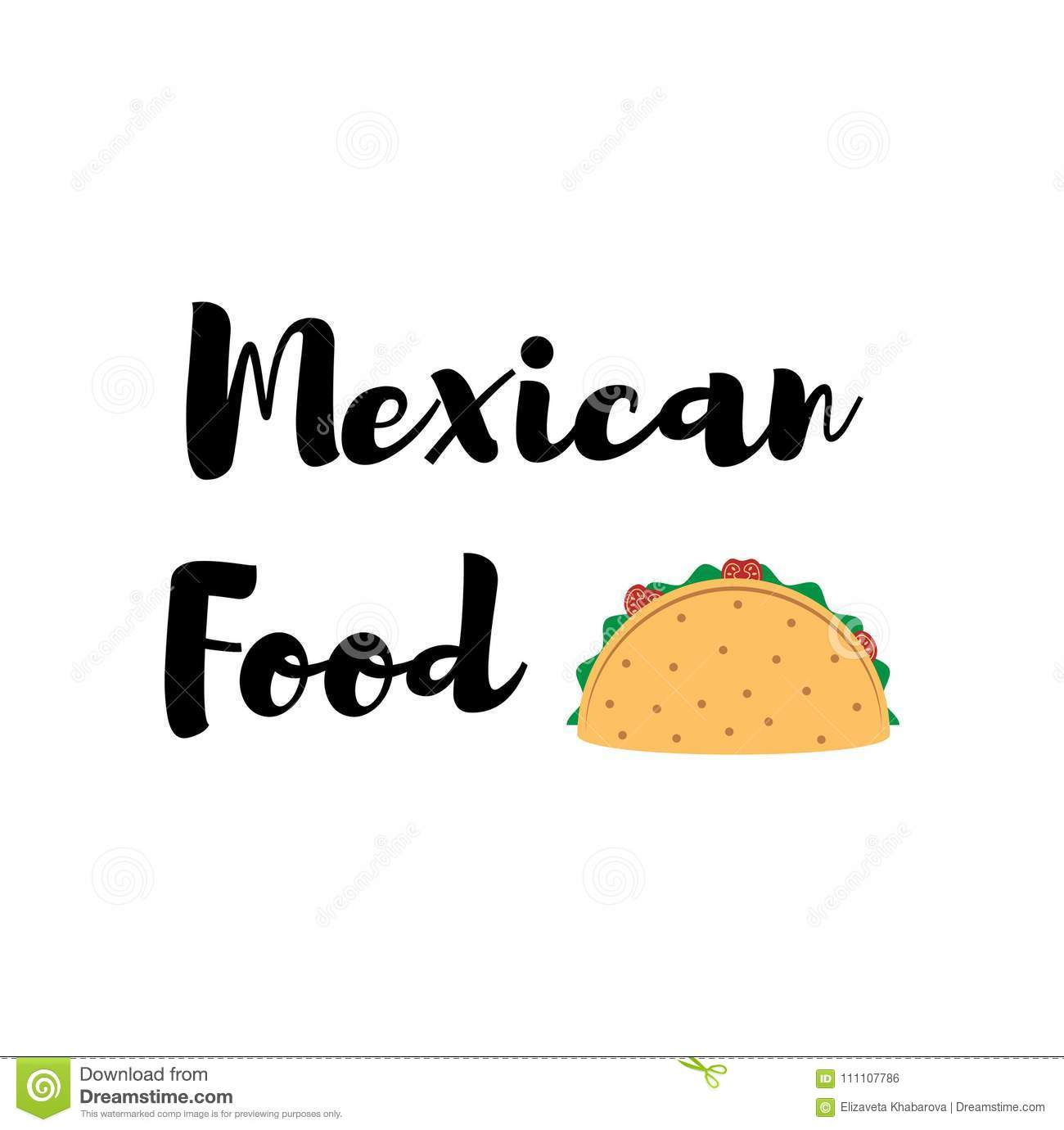 Taco Traditional Mexican Food . Vector Label. Stock Vector ...