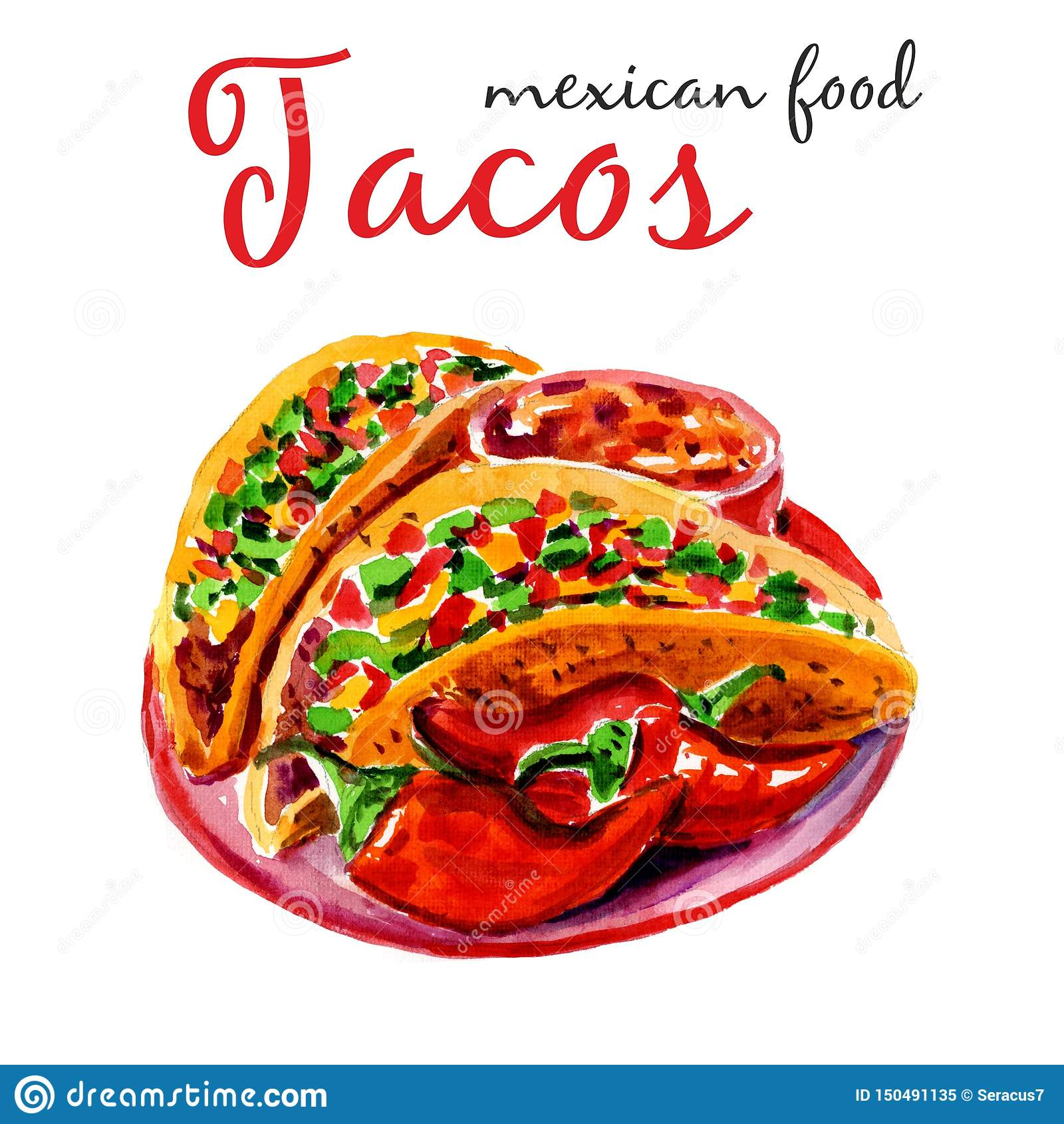 Tacos f?r flygillustration f?r n?bb dekorativ bild dess paper stycksvalavattenf?rg Den stilfulla designen med skissar illustratio