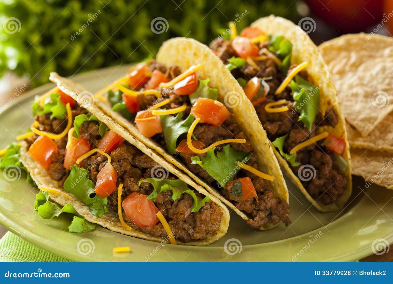 Tacos fait maison de boeuf hach photos libres de droits image 33779928 - Comment faire des tacos maison ...