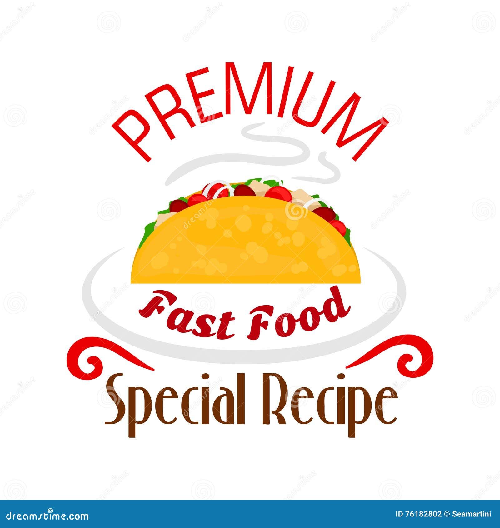 Tacos ikona Meksykański fasta food emblemat