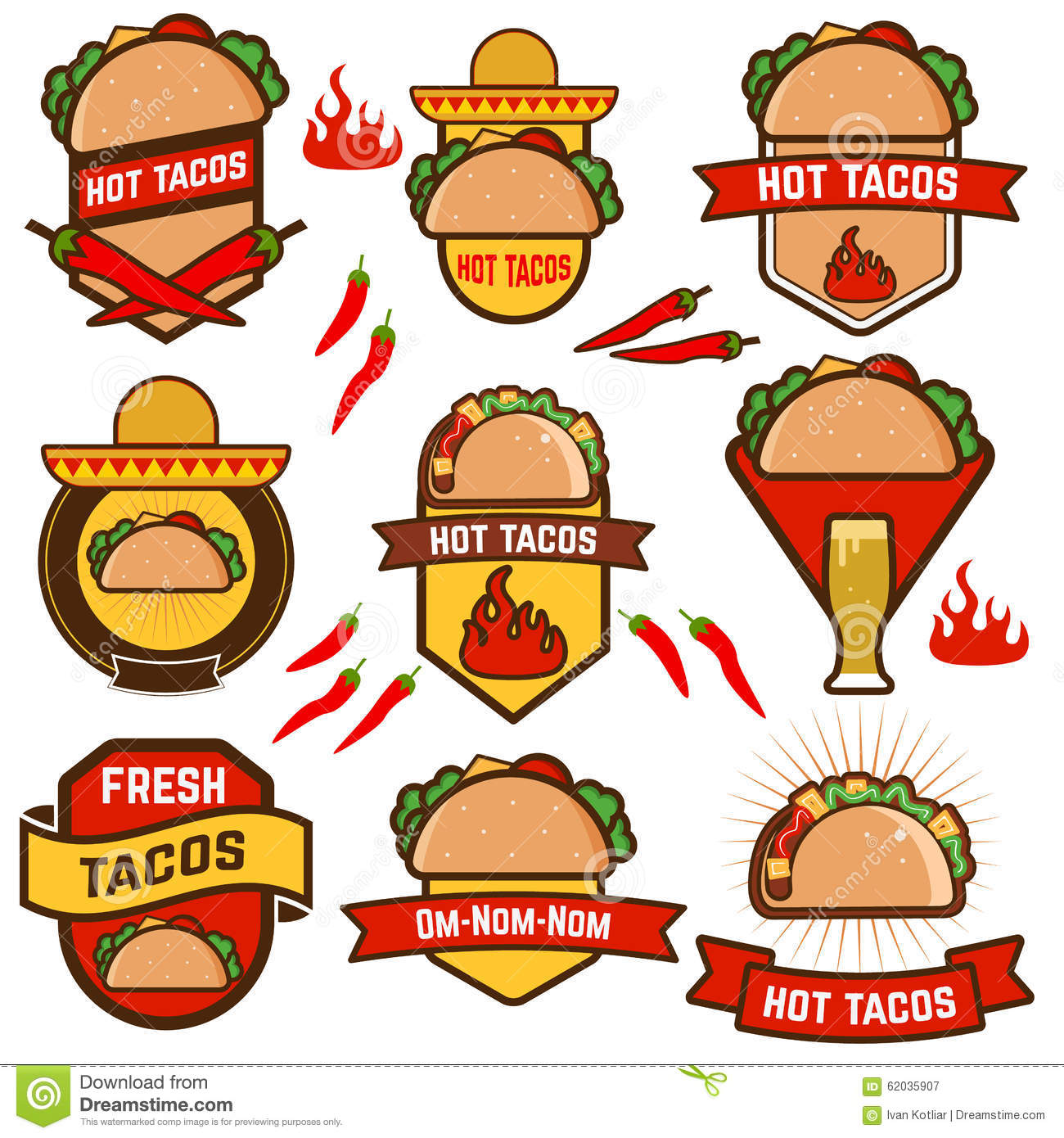 tacos stock vector image 62035907 mexican restaurant logos designs mexican restaurant logo ideas