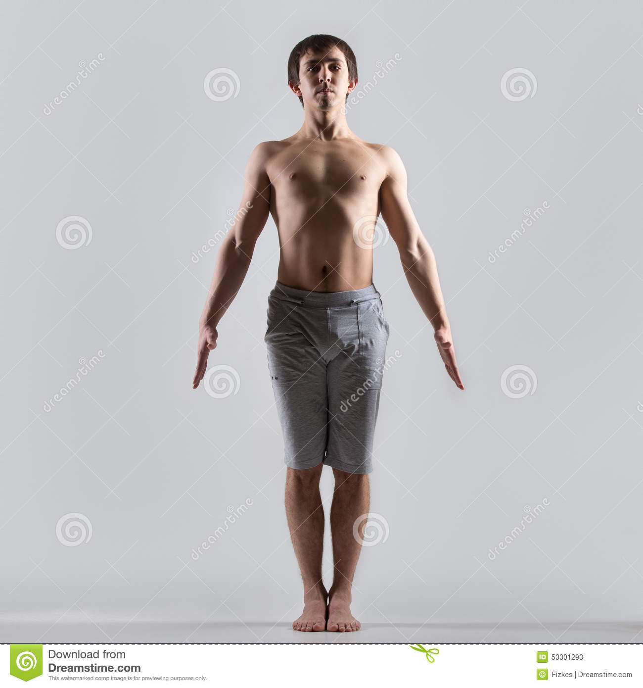 Sporty Muscular Young Man Working Out Yoga Pilates Fitness Training Basic Standing Asana Tadasana Mountain Posture Pose From Surya Namaskar