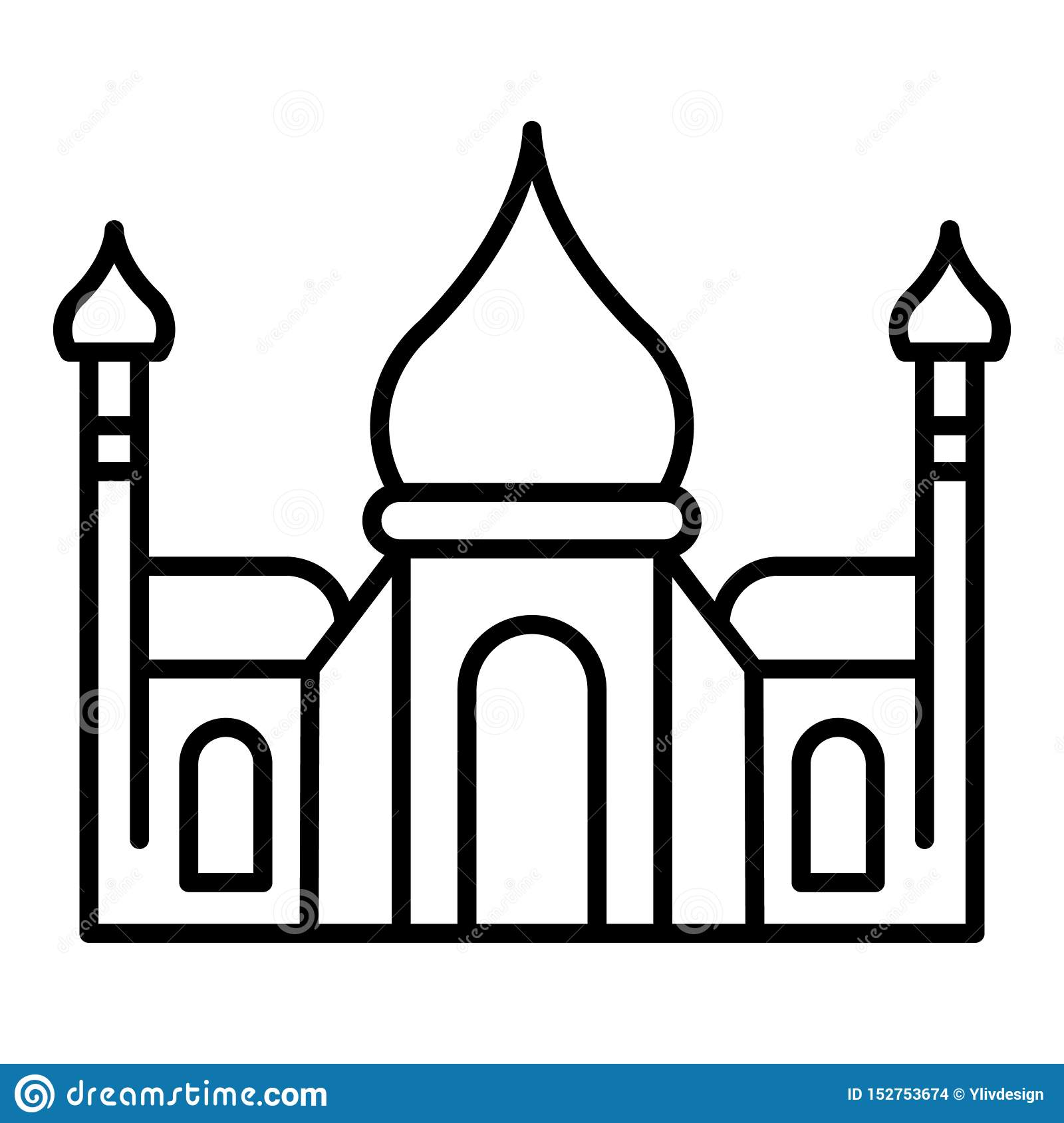 Tadj mahal icon, outline style