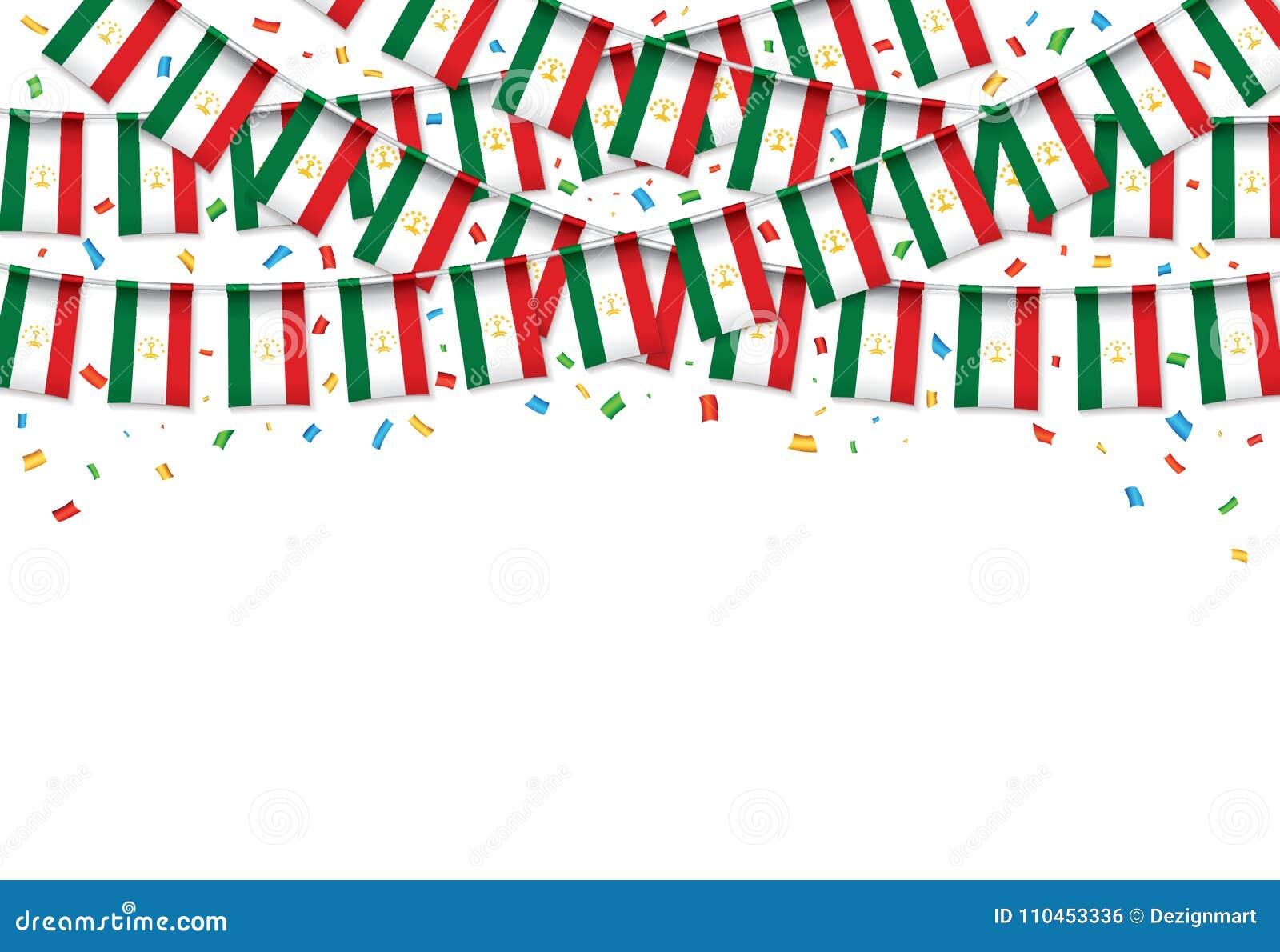 Tadzjikistan sjunker vit bakgrund för girlanden med konfettier, hängningbunting för tadzjikisk självständighetsdagen