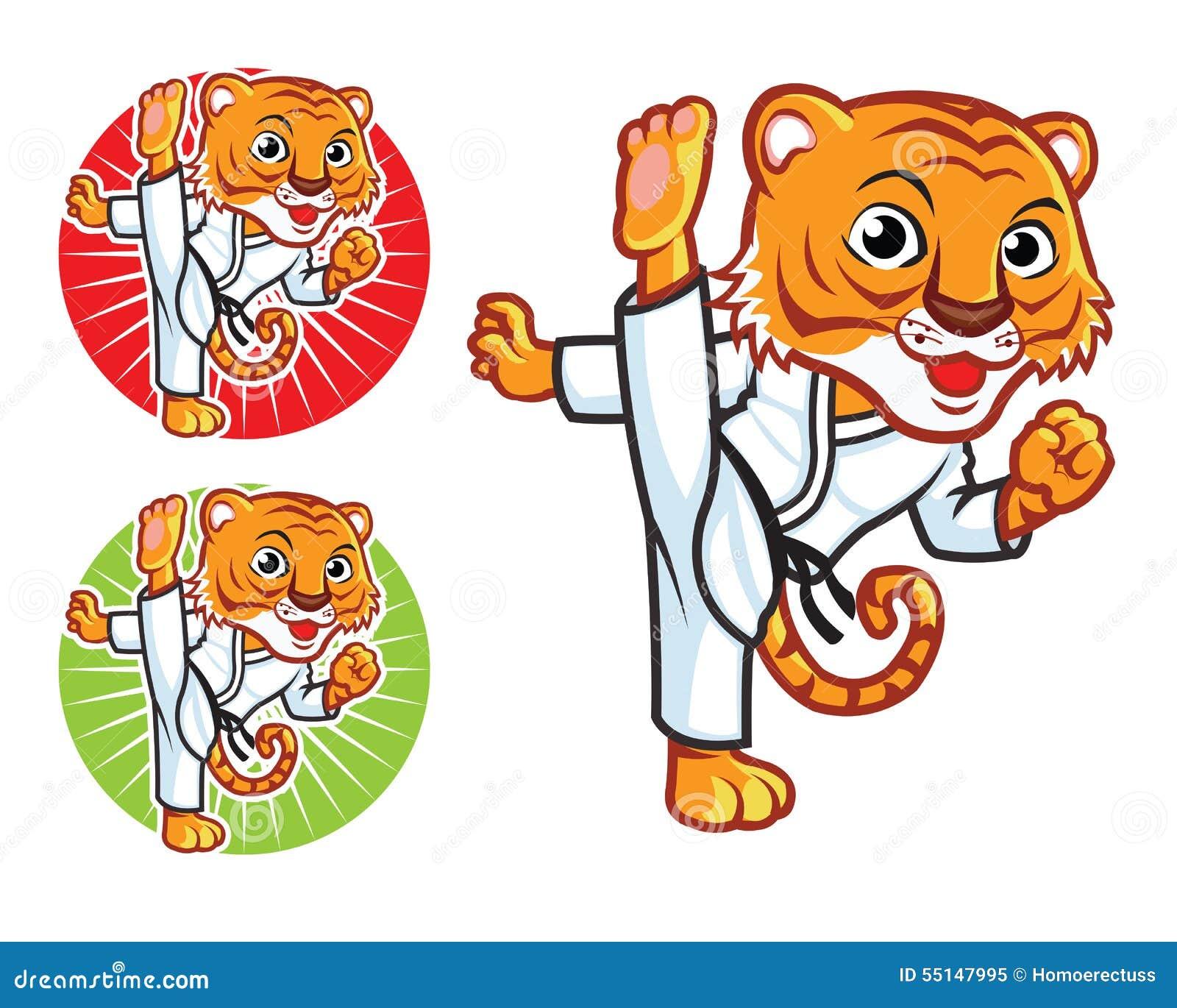 Vector Cartoon of Taekwondo Tiger Cartoon Mascot Showing Kick.