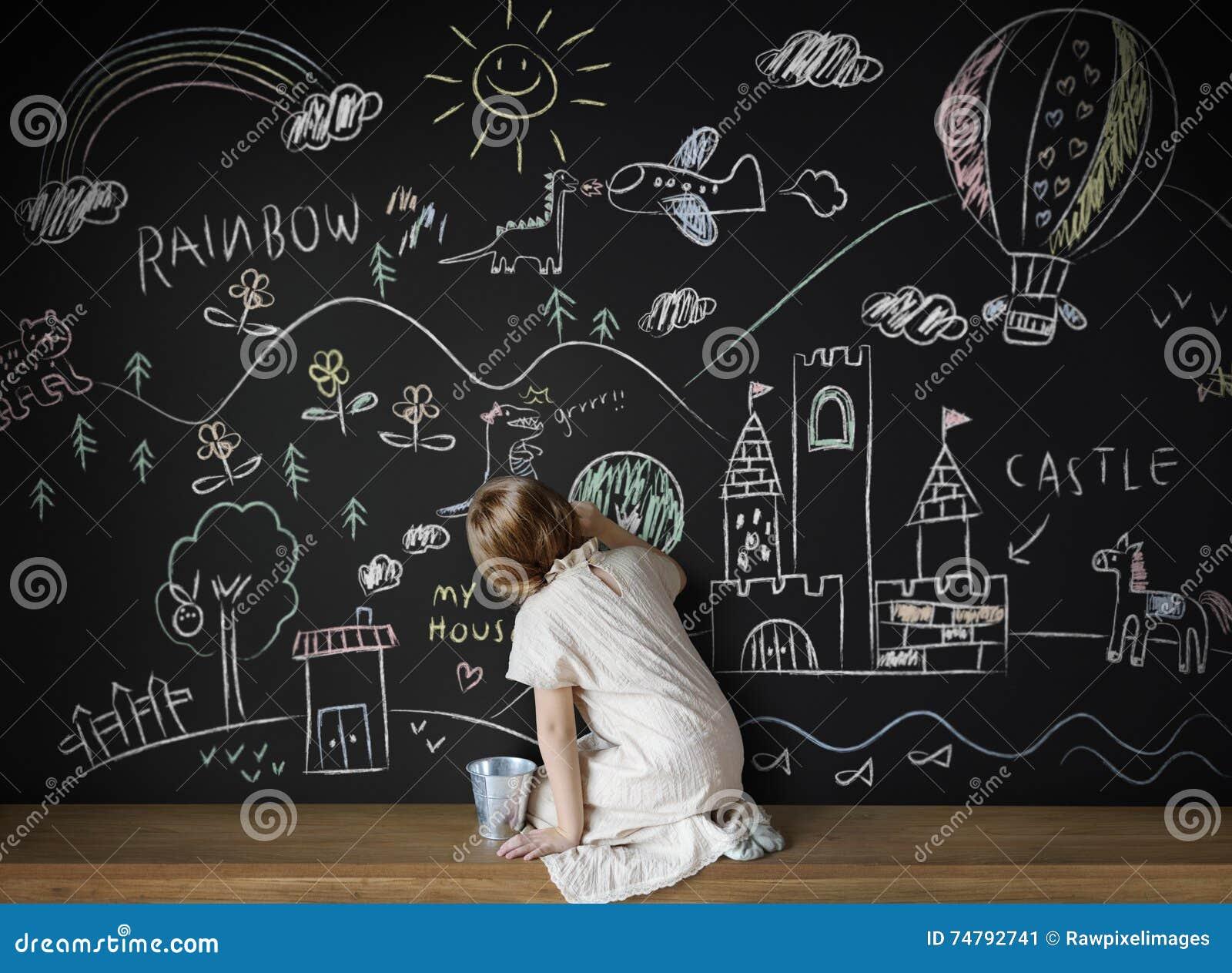 Tafel, Die Kreative Fantasie-Ideen-Konzept Zeichnet Stockbild ...