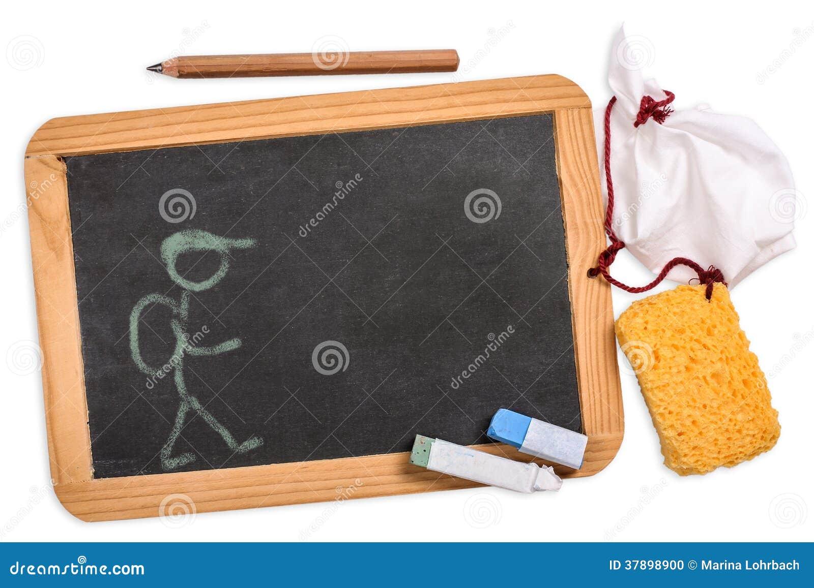 Schultafel mit kreide und schwamm  Tafel Mit Bleistift, Kreide, Schwammstoff Und Einer Zeichnung ...