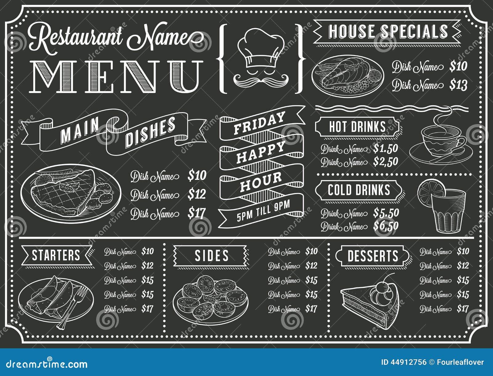 Tafel-Restaurant-Menü-Schablone Vektor Abbildung - Illustration von ...