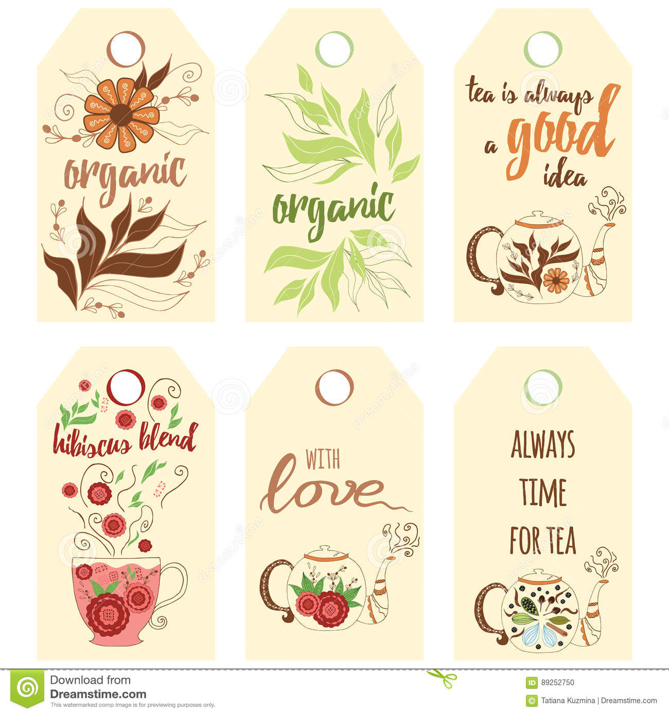 Tag Collection With Teapots Stock Vector