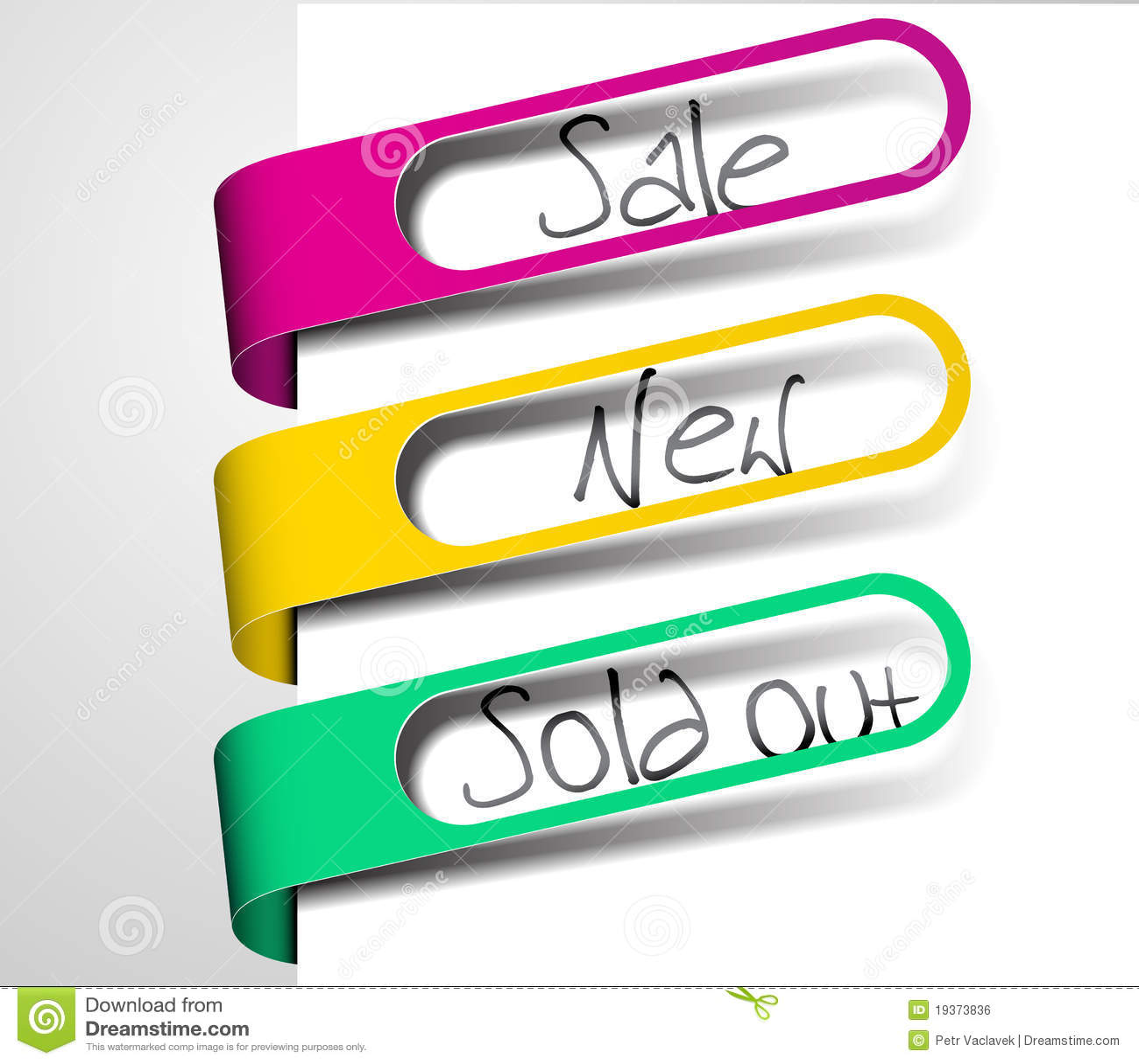 Tag de papel para artigos na venda, vendidos para fora e novos