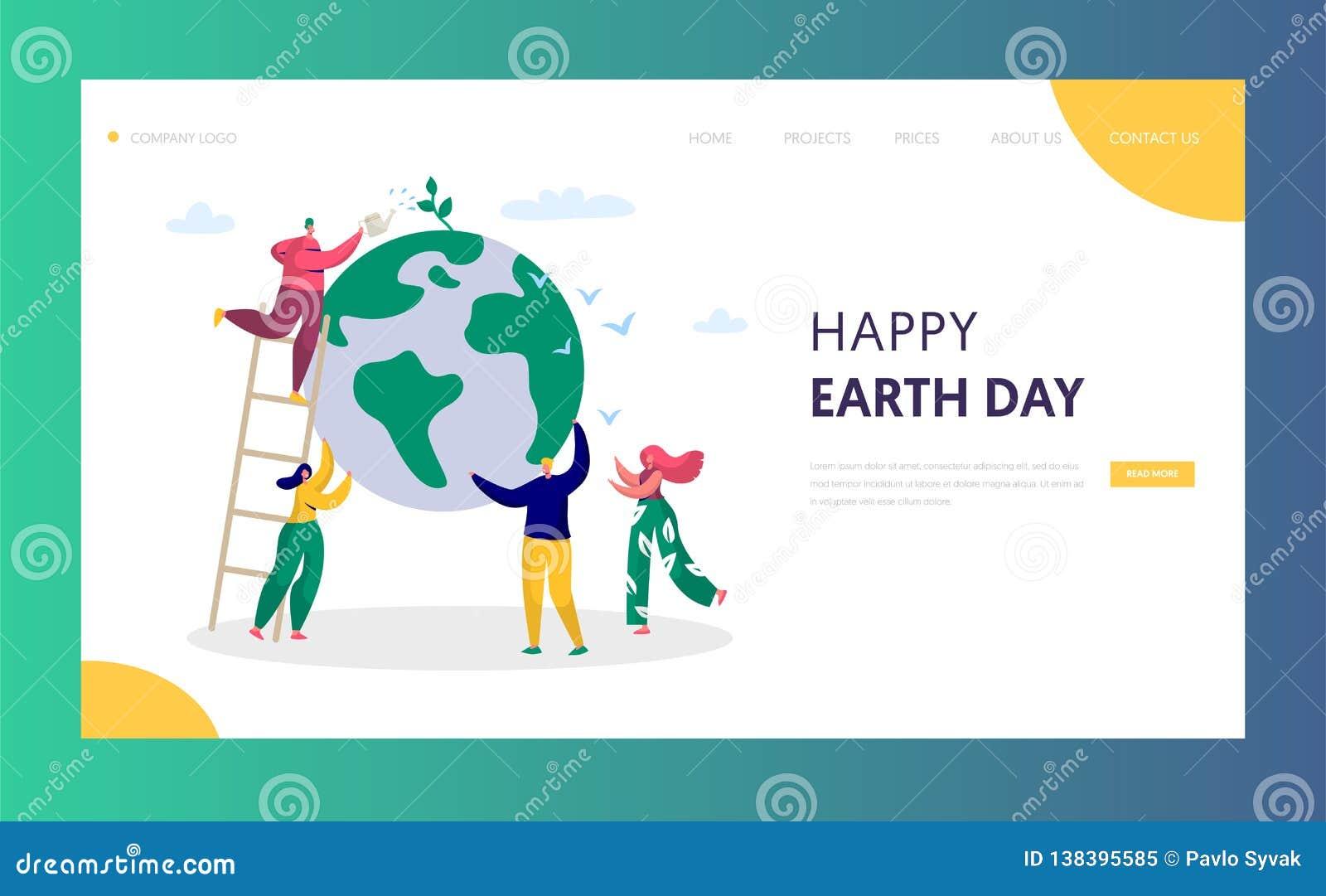 Tag der Erde-Mann-Abwehr-Grün-Planeten-Umwelt-Landungsseiten-Leute der Weltwasserpflanze für Ökologie-Feier-Vorbereitung