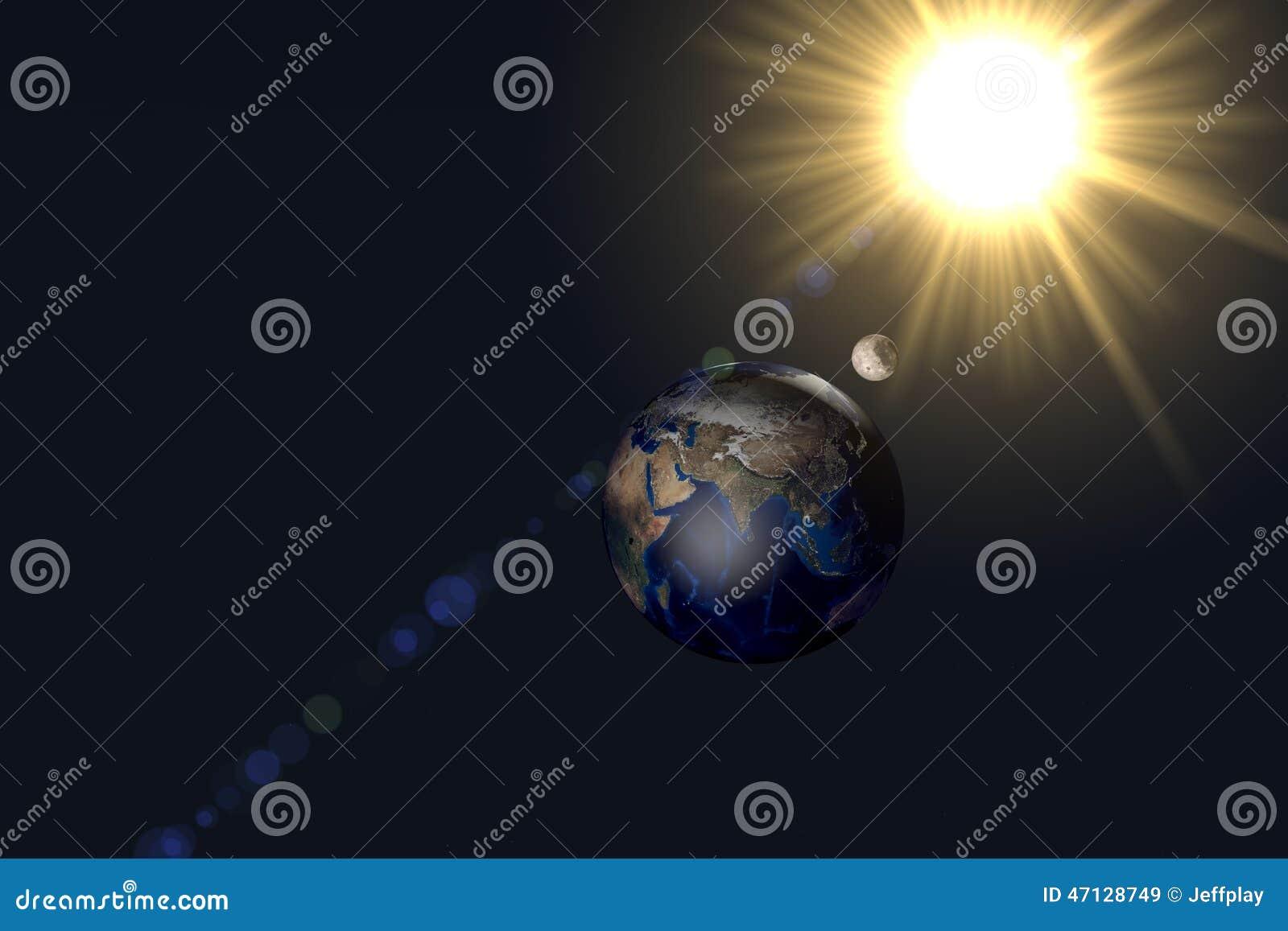 Tag Der Erde Und Nacht Mit Sonne Und Mond Stockbild Bild Von