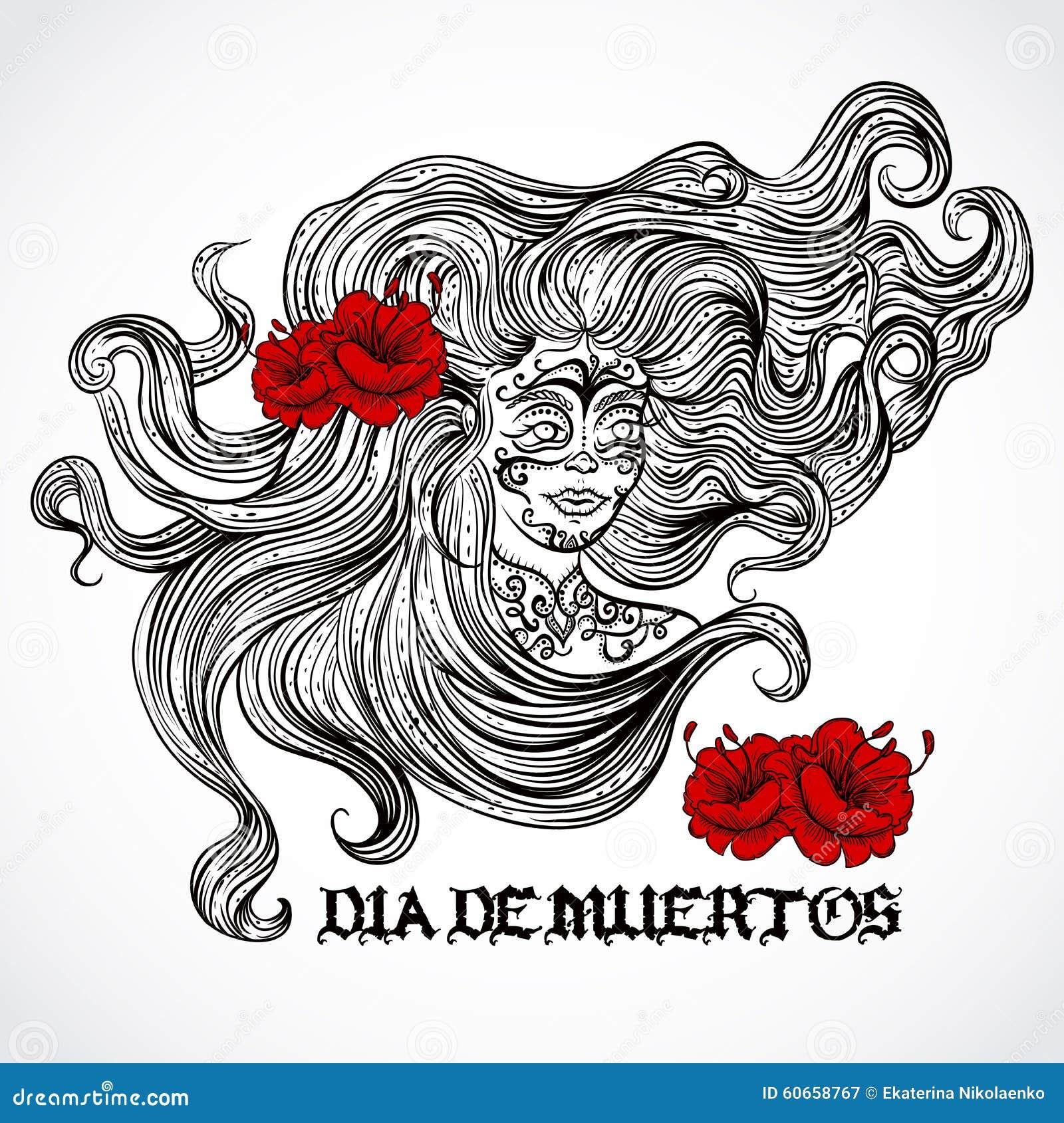 Tag Der Toten Frau Mit Dem Schönen Haar Und Den Roten Blumen ...
