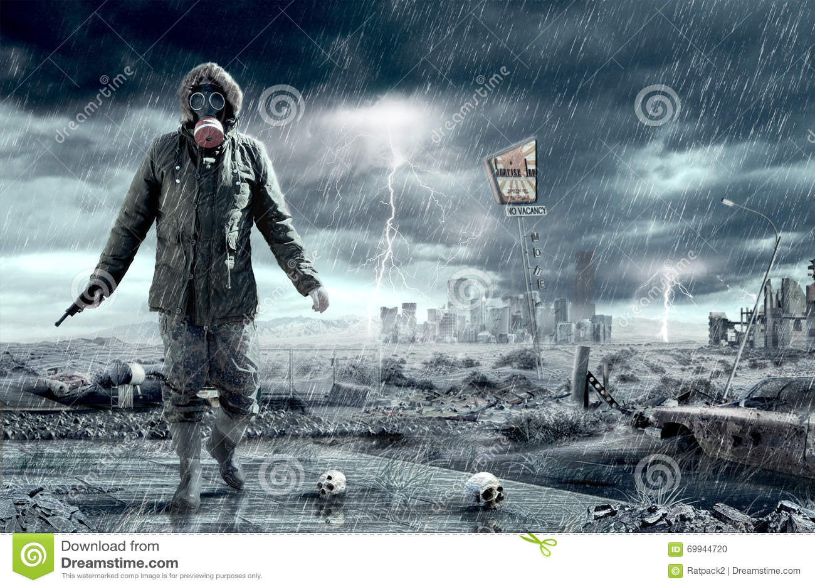 Tag Des Jüngsten Gerichts Apocalypsen Szenario Stock Abbildung