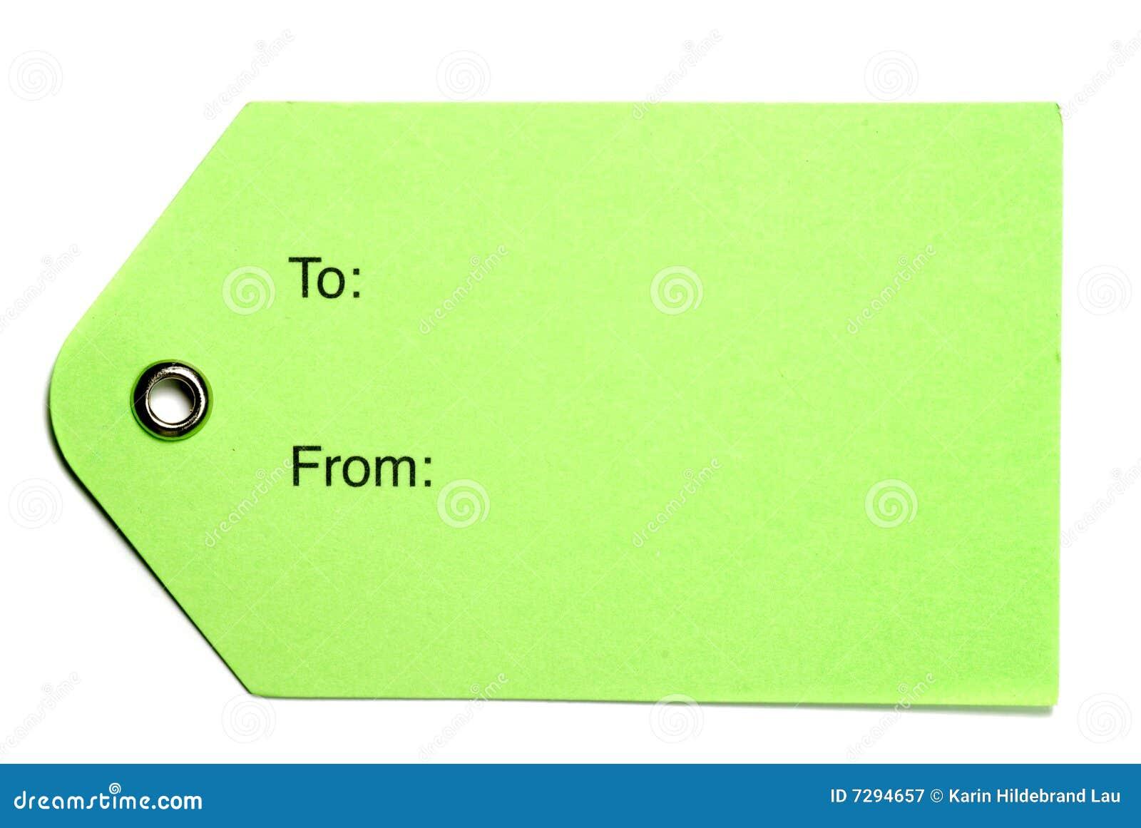 Tag do papel verde