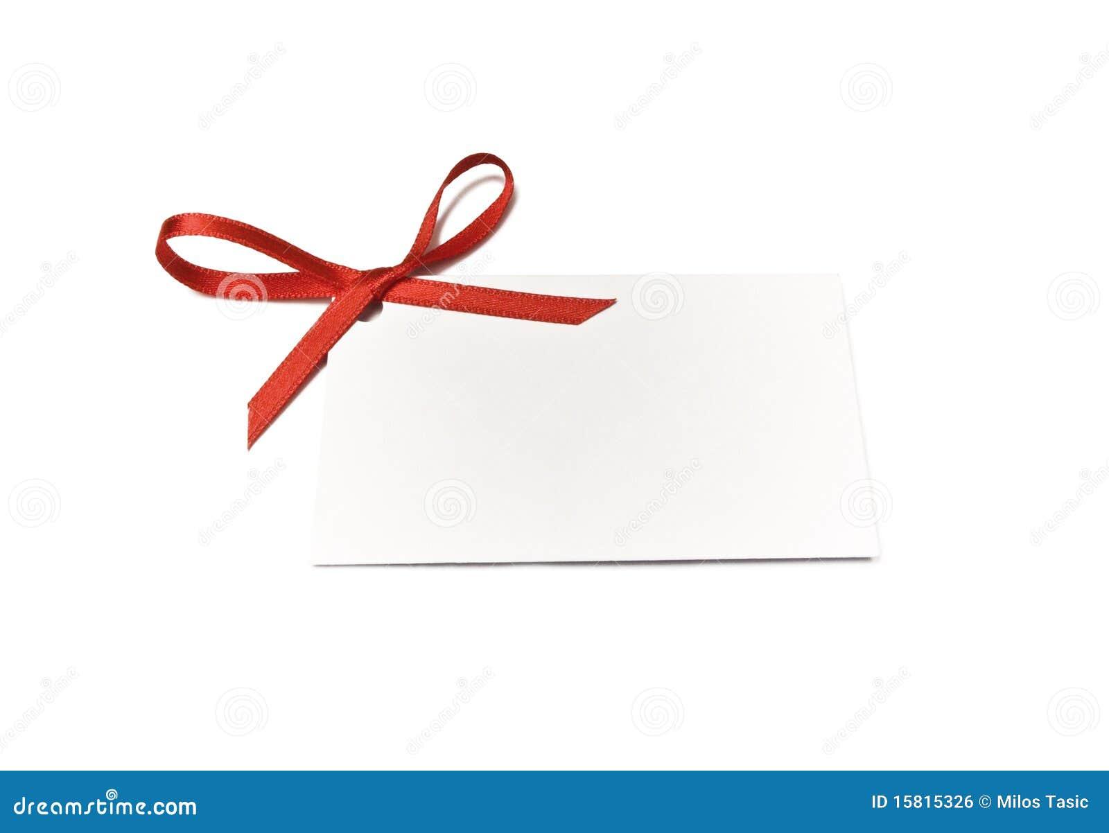 Tag do presente com fita vermelha