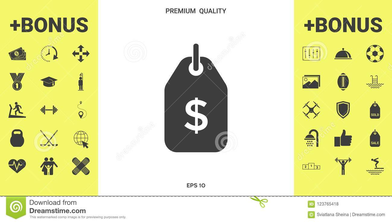 Tag With Dollar Symbol Price Tag Icon For Download Stock Vector