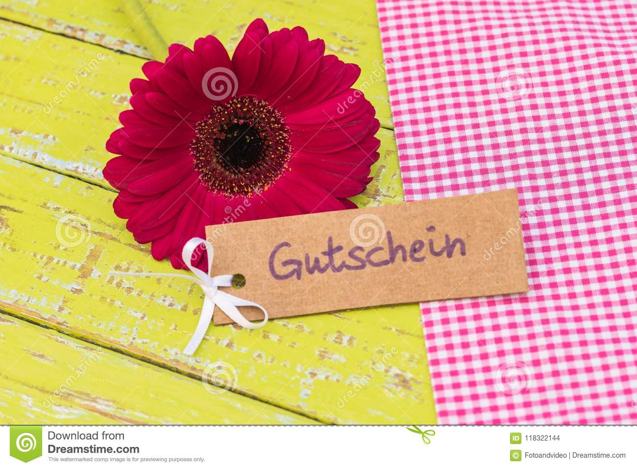 Gerbera daisy flower with gift tag german word gutschein means gerbera daisy flower with gift tag german word gutschein means voucher or coupon for izmirmasajfo