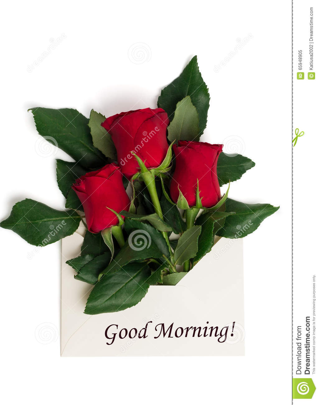 Tag Good Morning With Bouquet Of Red Roses In Envelope Stock Image