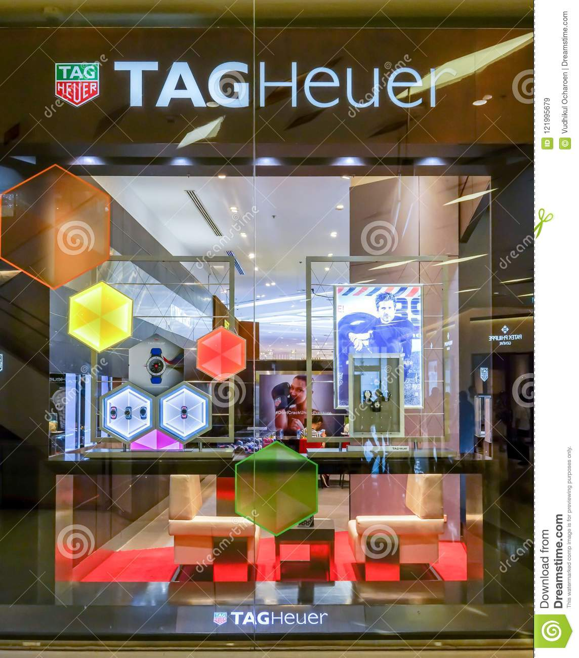 3b7252629c1 TAG Heuer shop at Siam Paragon, Bangkok, Thailand, Mar 9, 2018 : World  famous watch brand. Window display against perspective background at the  store.