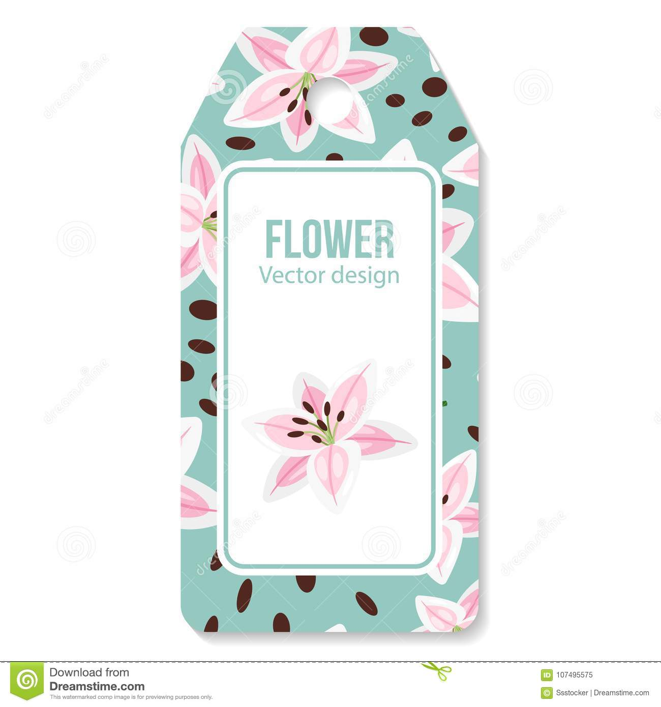 Tag With Pink Lilies Flower Pattern Stock Vector