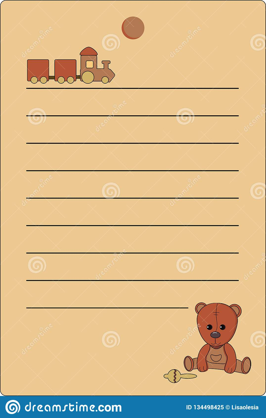 Tag with a teddy bear and a train of natural brown colors