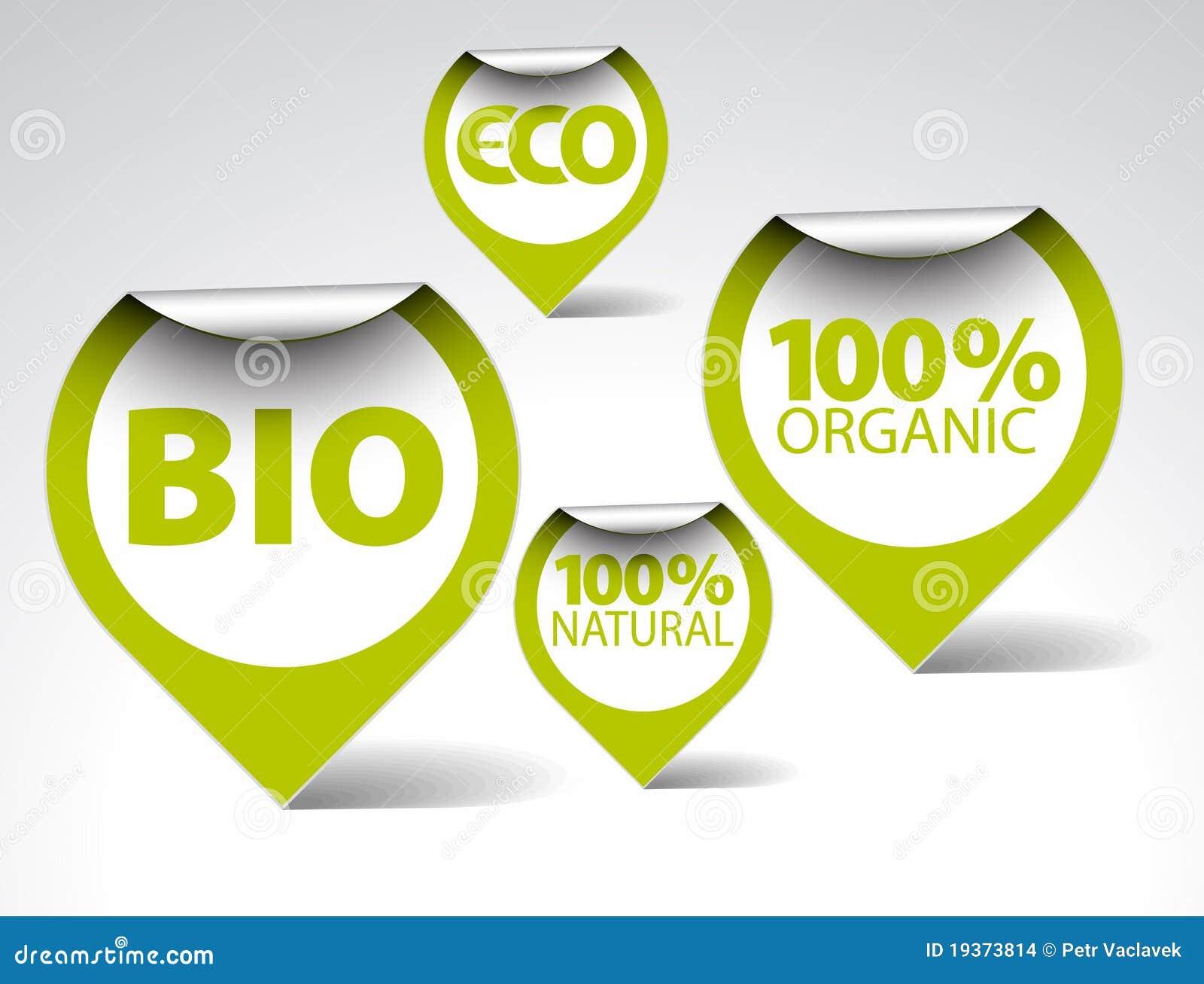 Tag verdes para orgânico, naturais, eco, bio alimento
