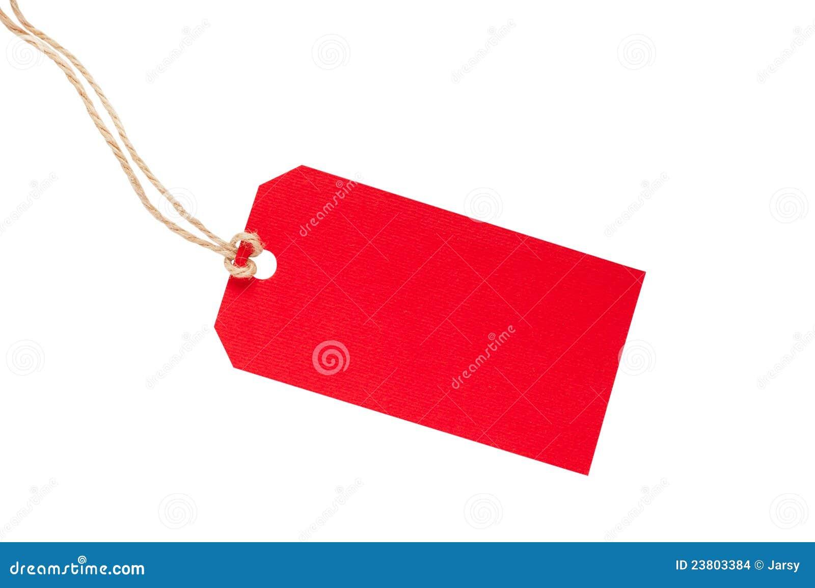 Tag vermelho em branco