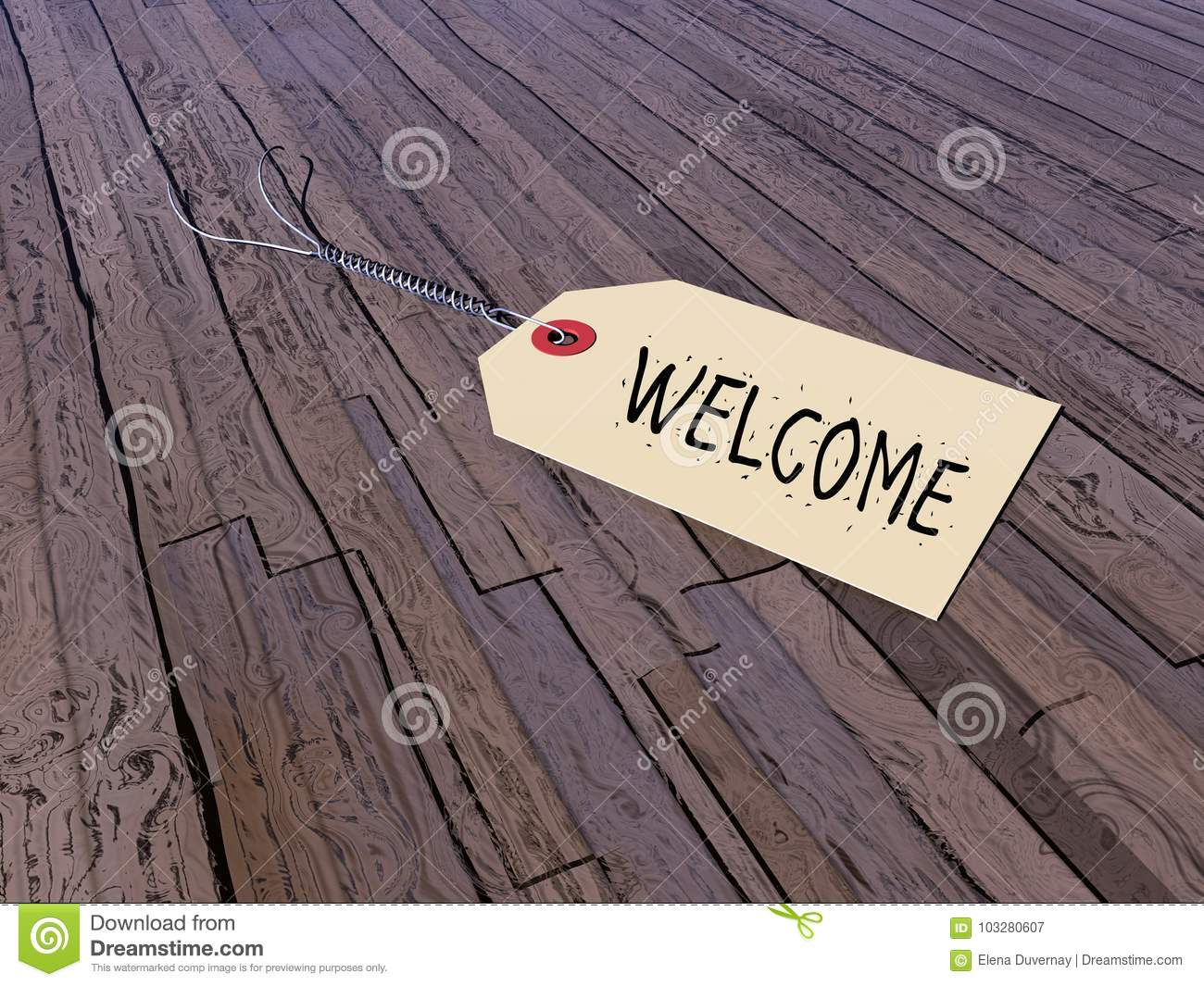 Tag for welcome - 3D render