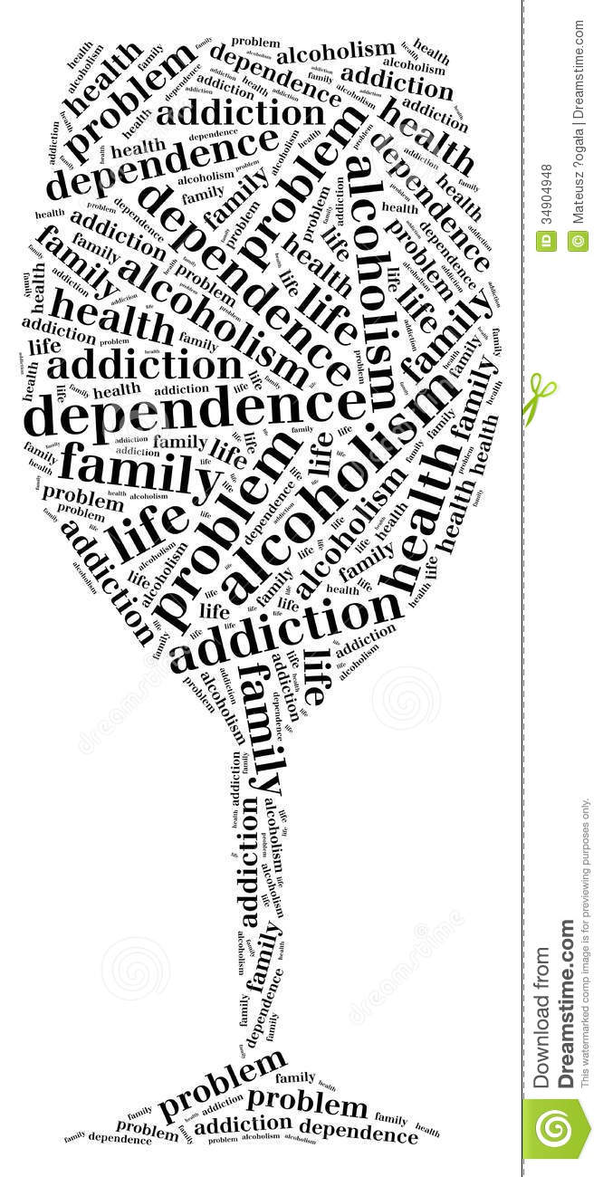 tag or word cloud alcohol addiction related in shape of glass stock illustration