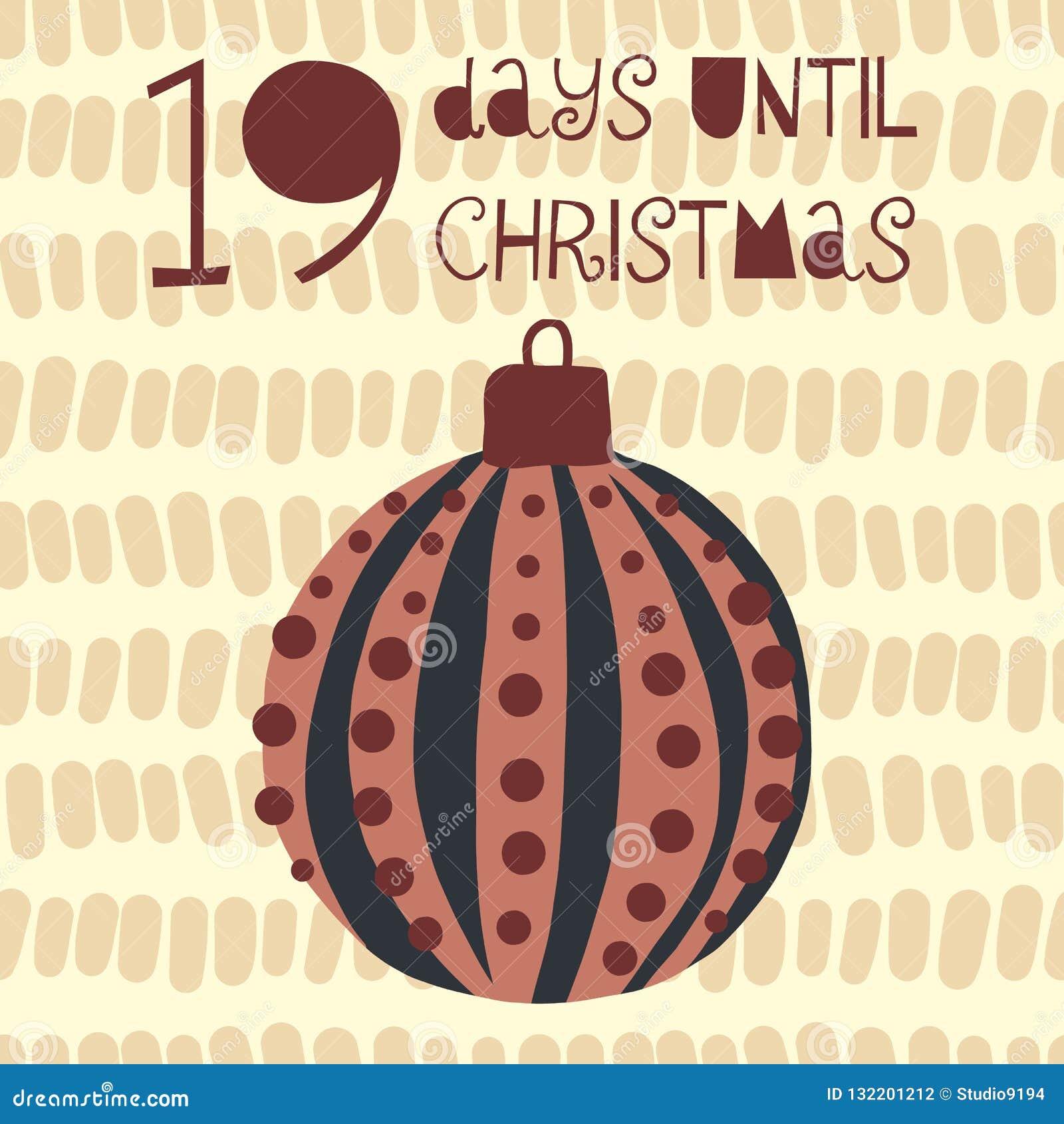 19 Tage bis Weihnachtsvektorillustration +EPS Zählimpuls die Tage  bis Weihnachtstafel