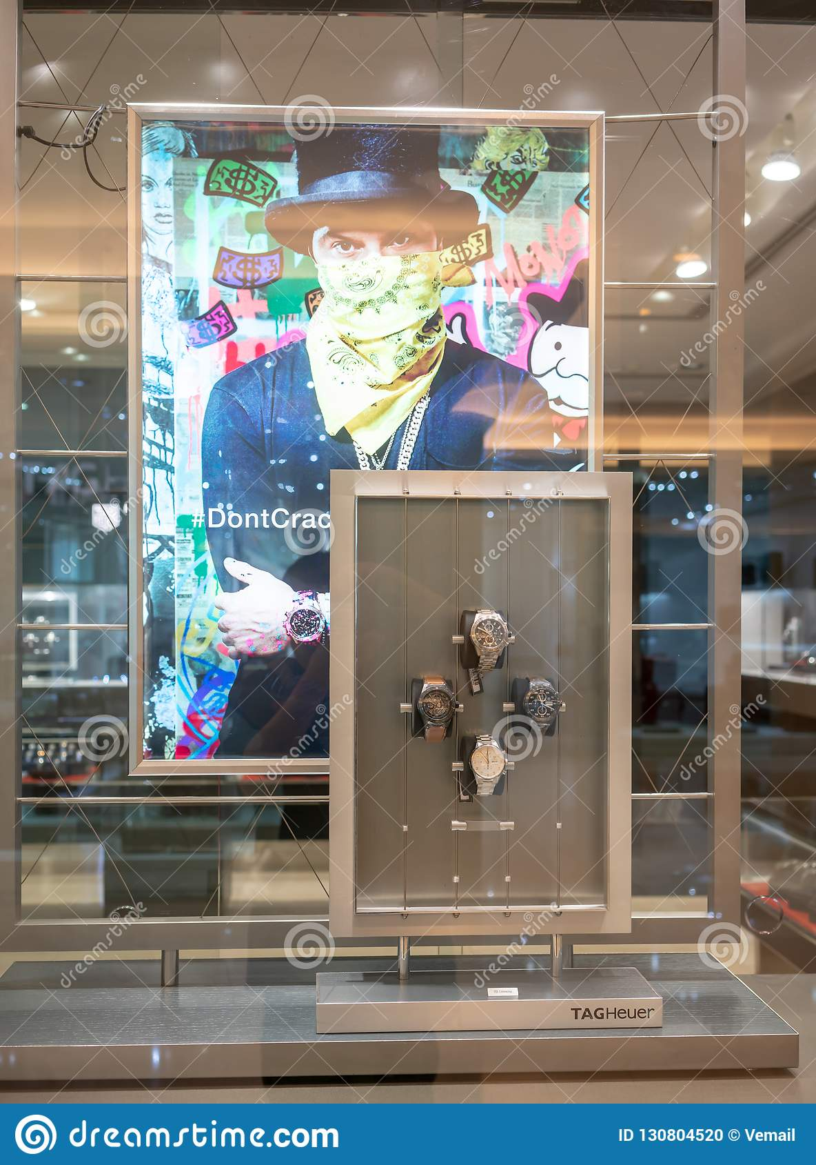 44300bee593 TAGHeuer shop at Central World, Bangkok, Thailand, Oct 19, 2018 : Luxury  Swiss Watches display at front store through window.