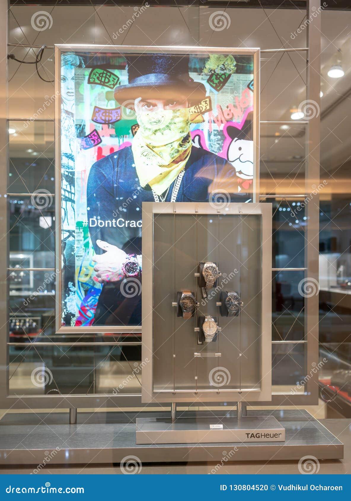 TAGHeuer sklep przy Środkowym światem, Bangkok, Tajlandia, Oct 19, 2018
