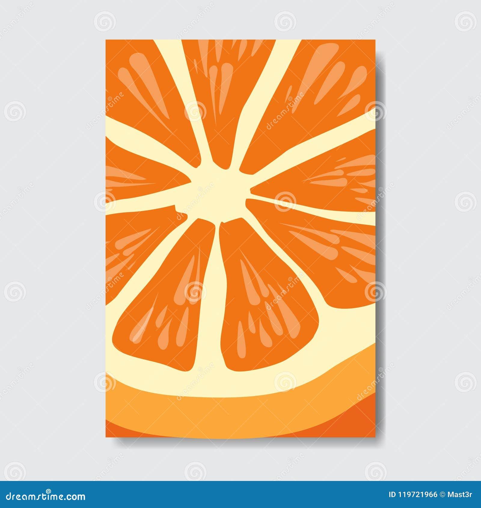 Tagli la carta arancio del modello, il manifesto su fondo bianco, manifesto verticale della frutta fresca della fetta dell opusco