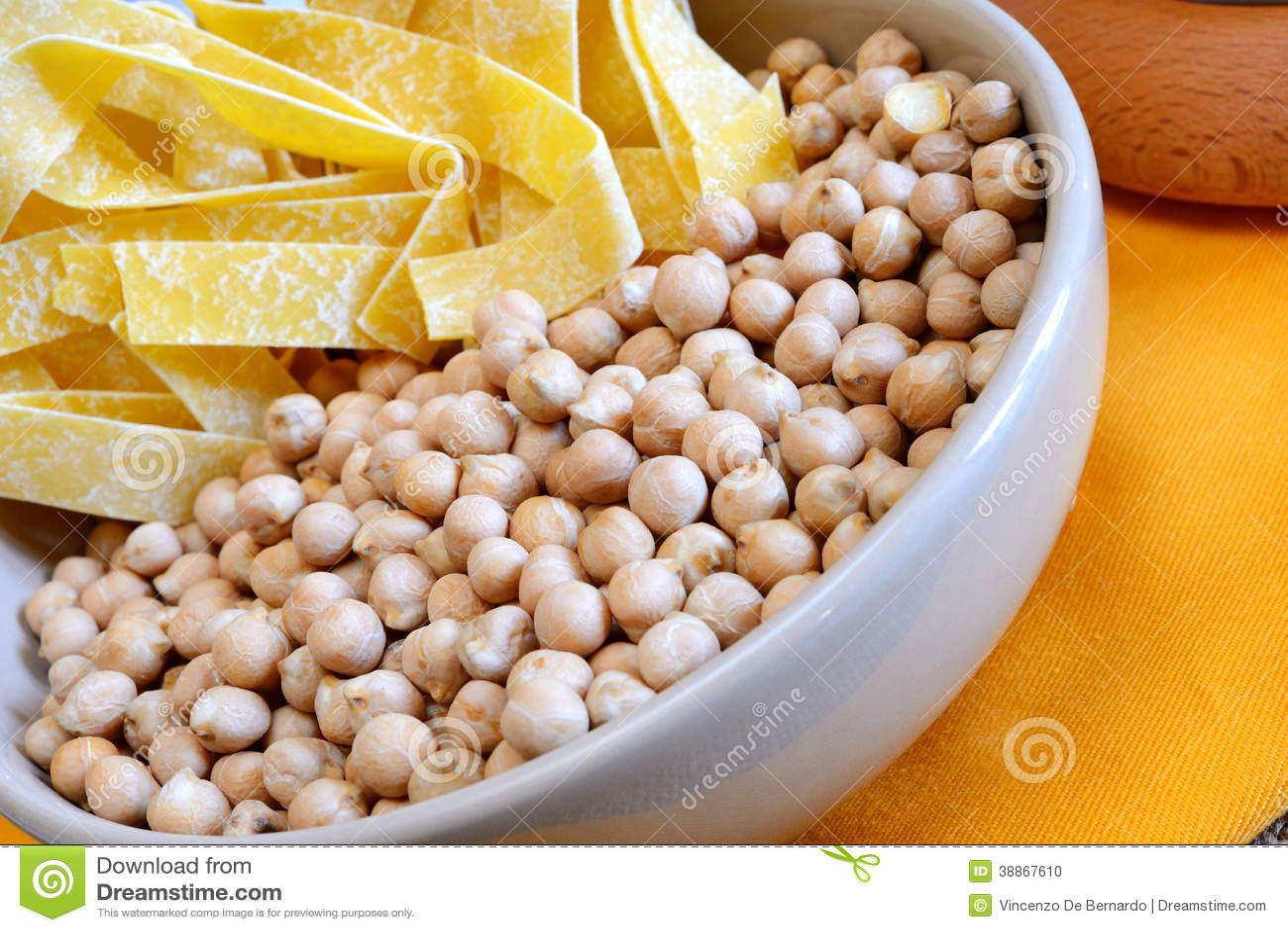 Homemade italian tagliatelle pasta with chickpeas cream and.