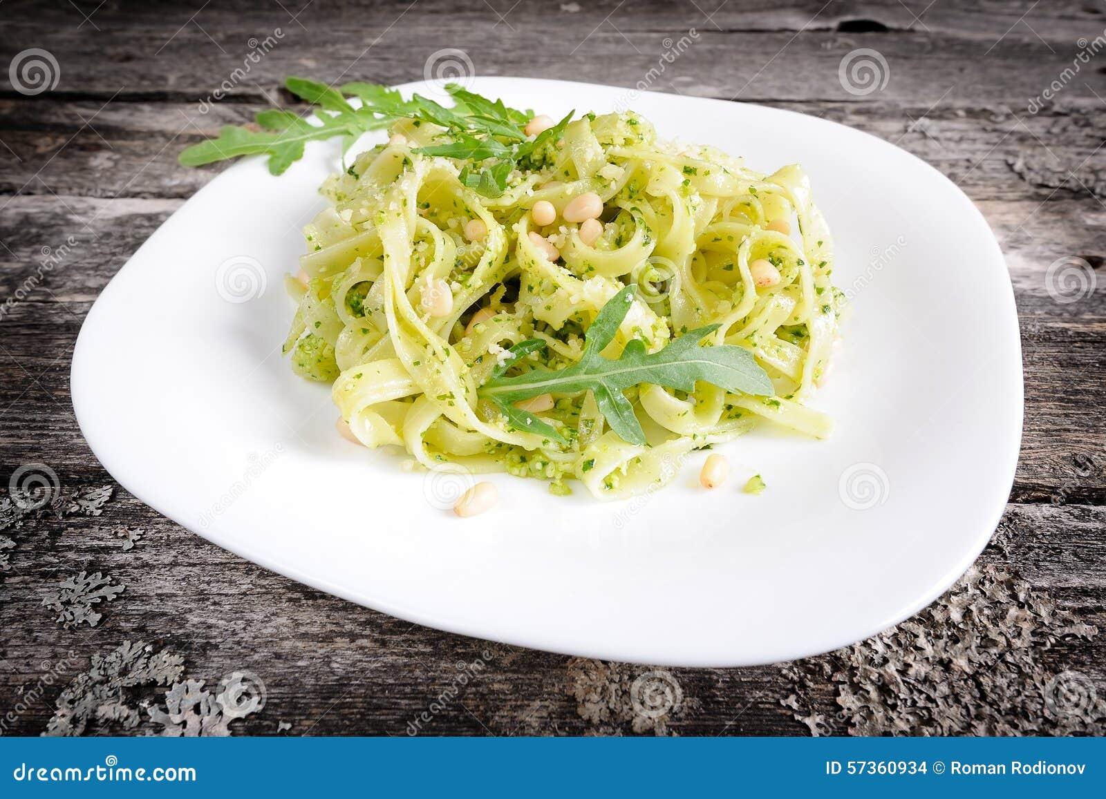 Tagliatelle with pesto stock photo. Image of nature, dish ...