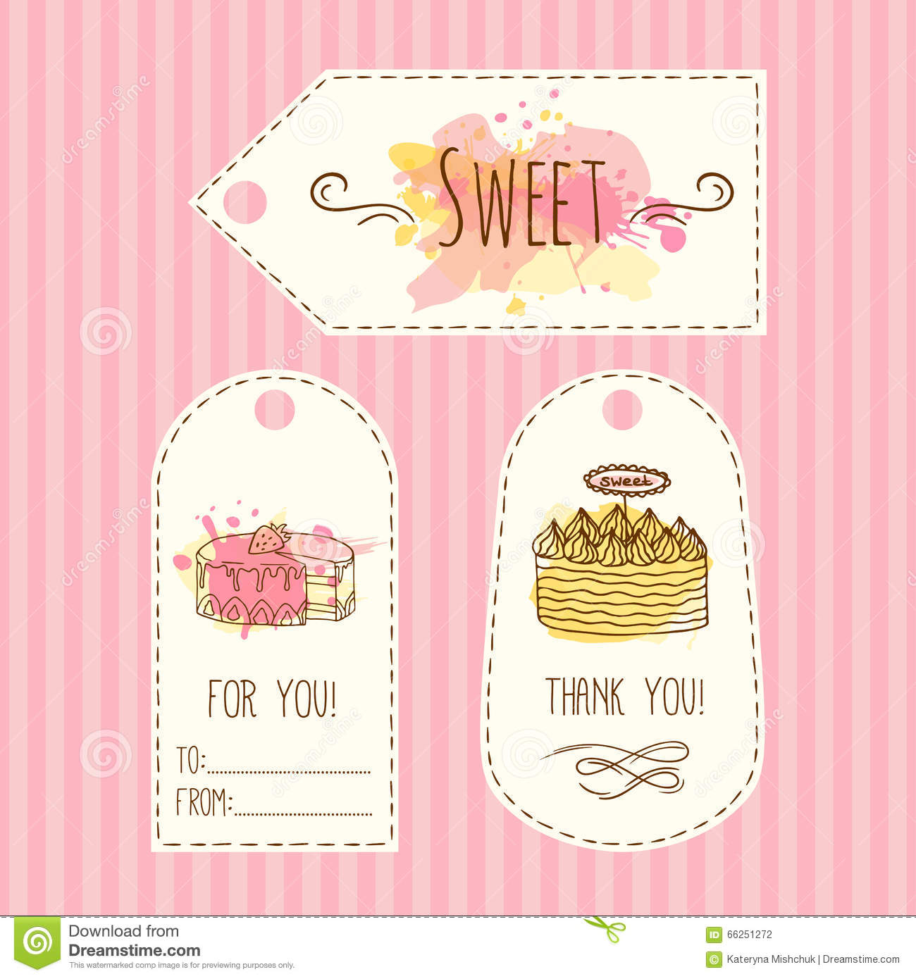 Tags with cake illustration vector hand drawn labes set for Cake labels template