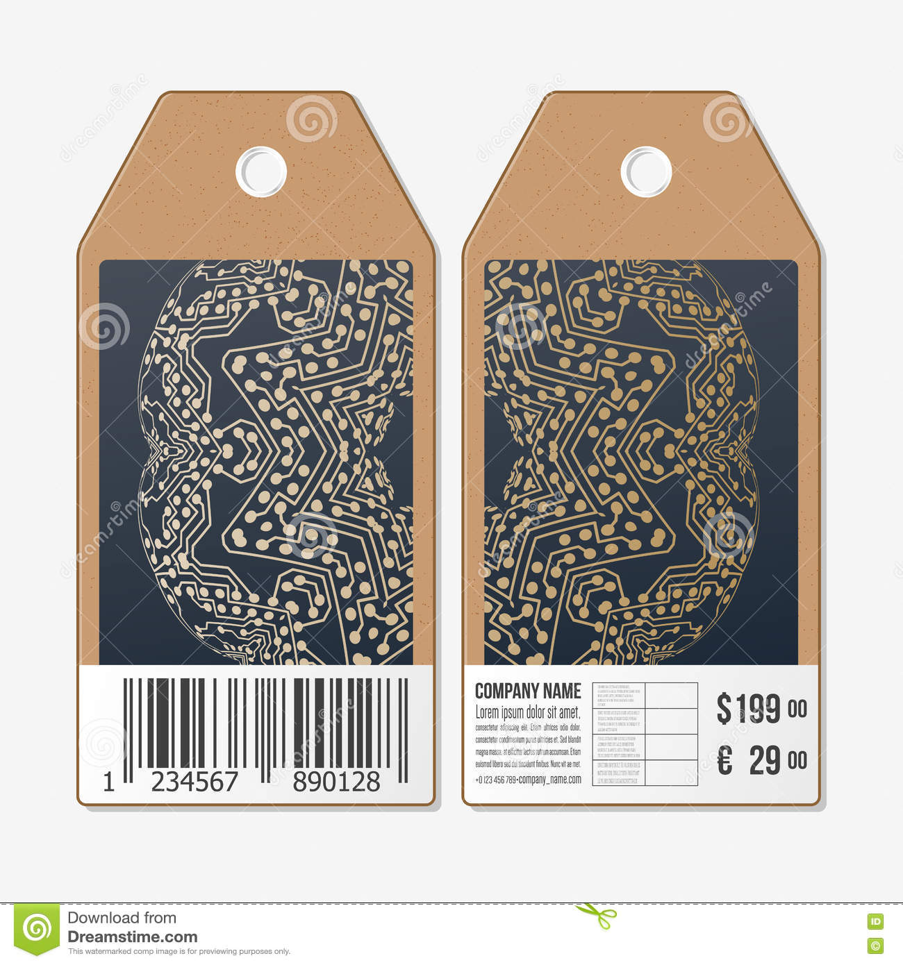 Tags Design On Both Sides Cardboard Sale Labels With Barcode Golden Microchip Pattern