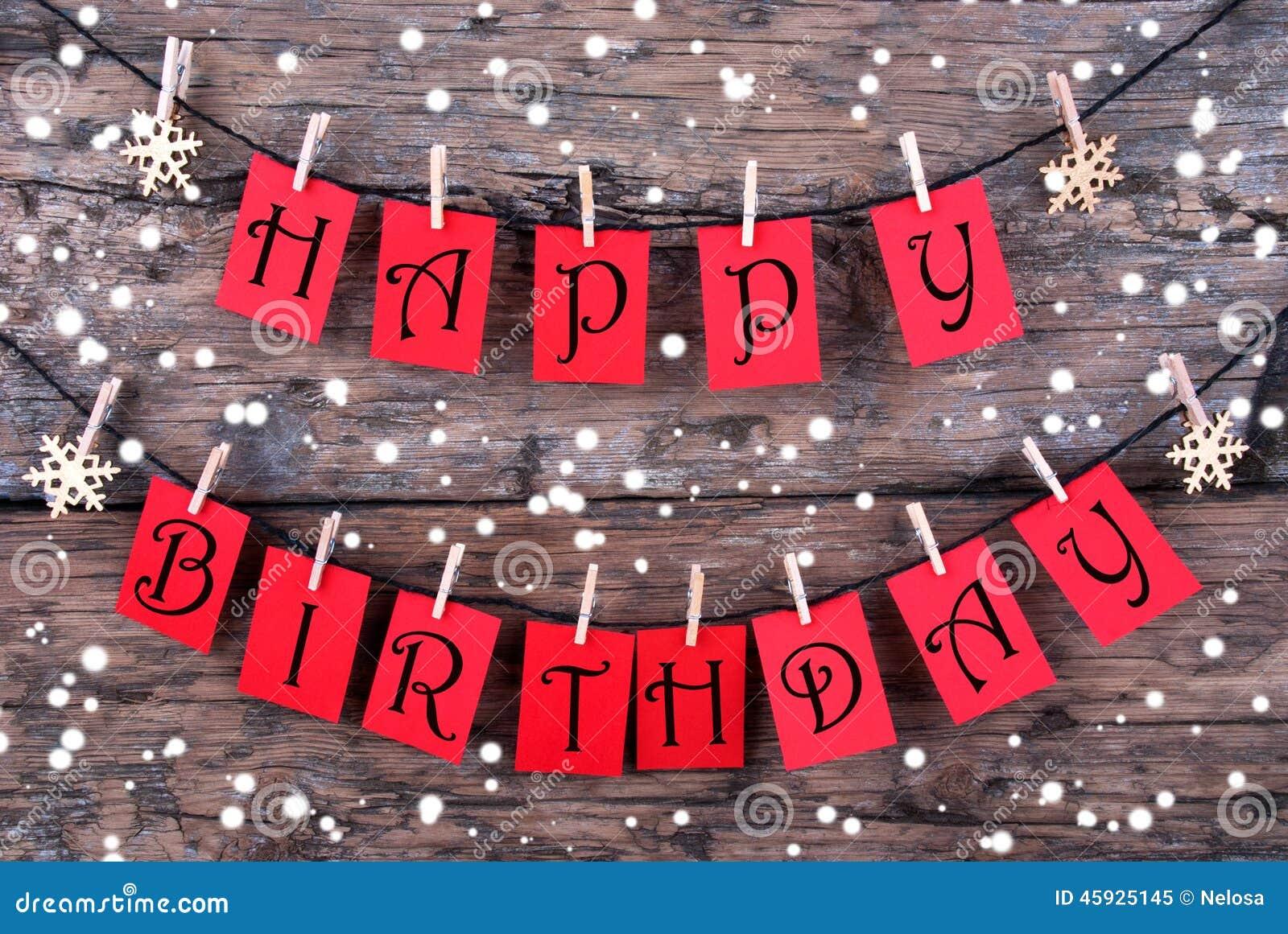 Tags Mit Alles Gute Zum Geburtstagwunschen Im Schnee Stockbild