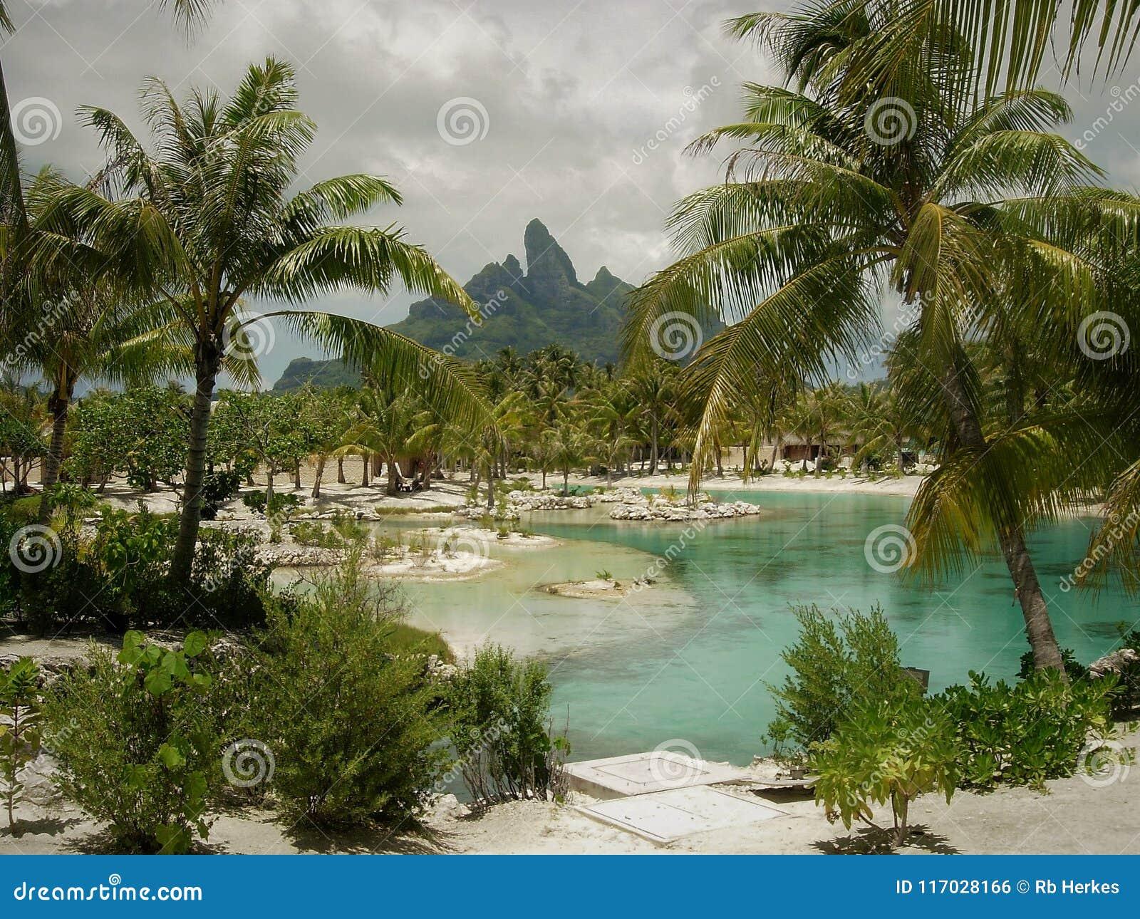 Tahitian Resort Lagoon With Mt Otemanu In Background Bora