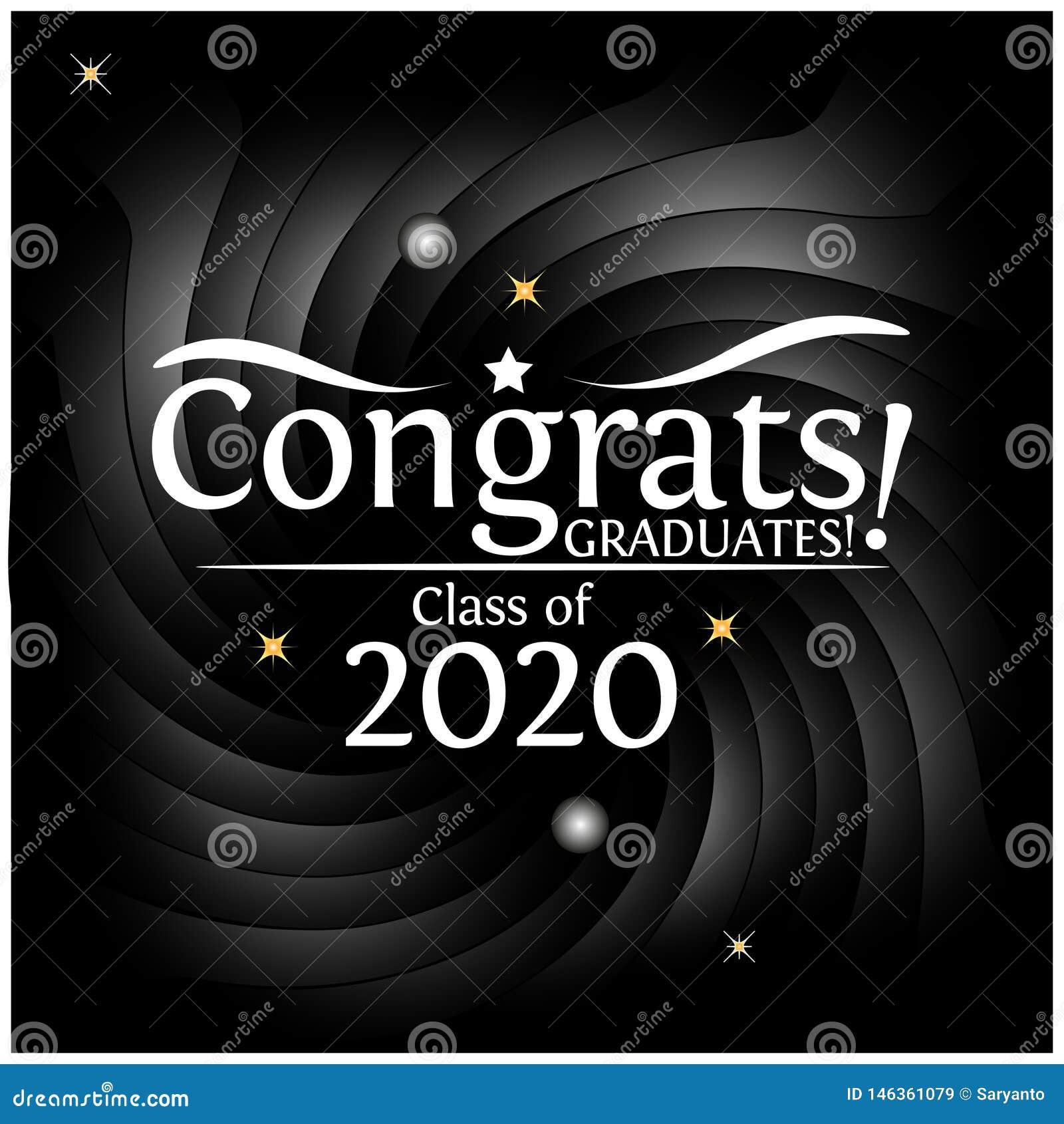 Graduation Background 2020.Congrats On Graduation Class Of 2020 On Black Background