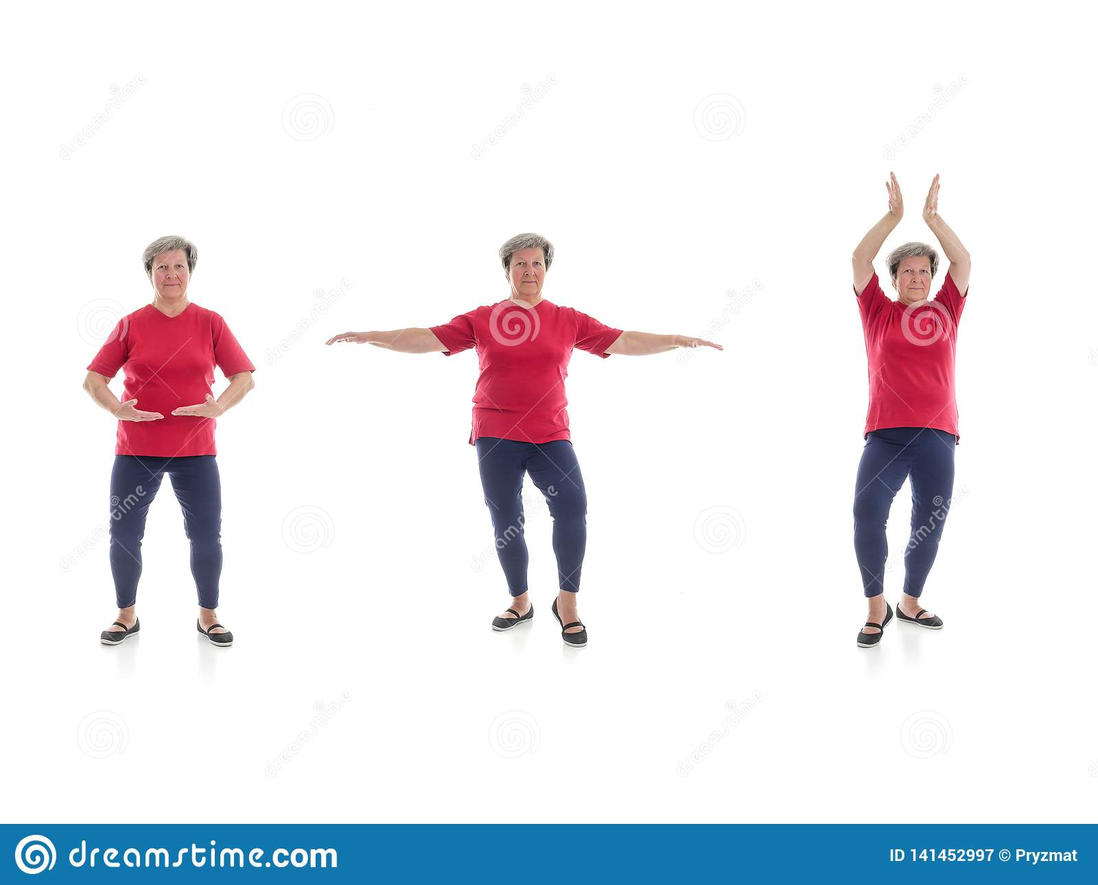 Tai chi forms performed by older woman