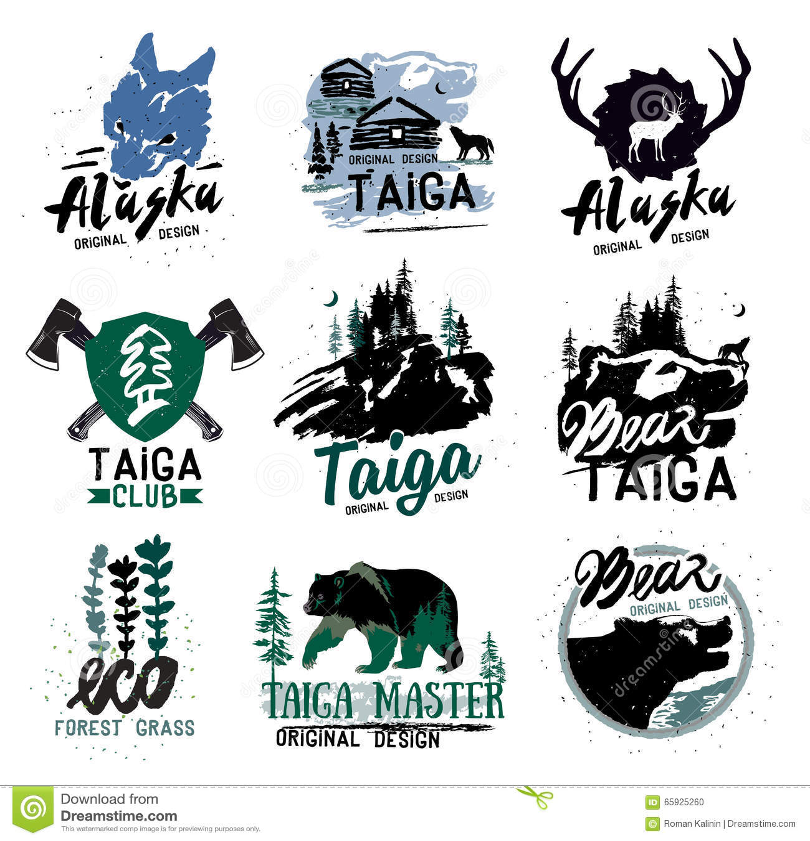 Taiga logo sign. Forest logotype. Bear taiga emblems. Vintage Camping ...
