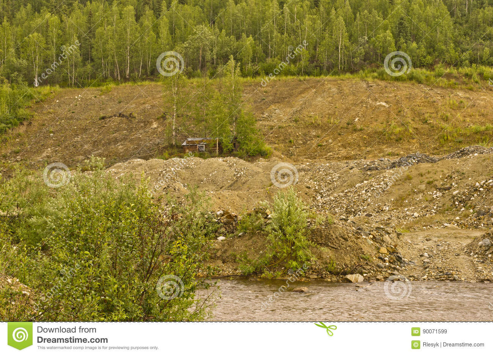 Tailings Piles On Bonanza Creek Stock Image - Image of creek