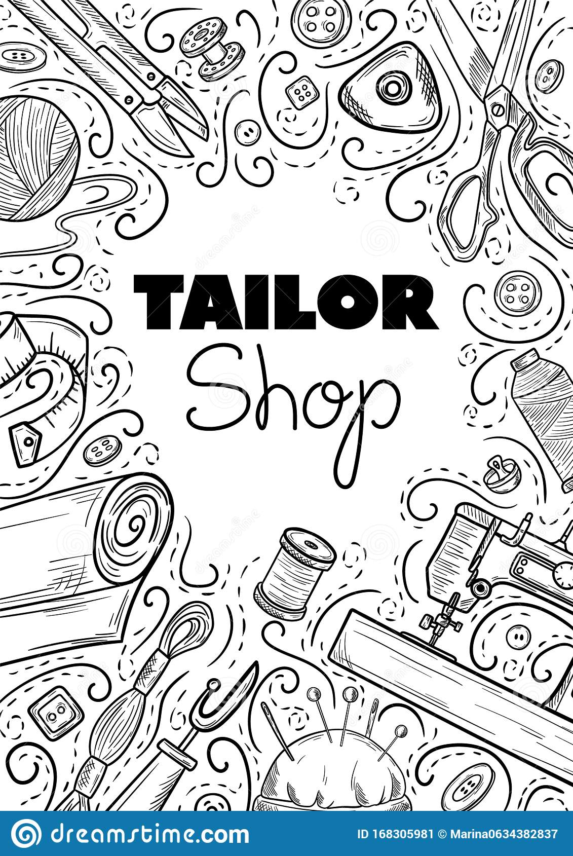 Tailor Or Dressmaker Work And Fashion Designer Atelier Sketch Items Vector Sewing Illustration In Retro Vintage Style Stock Illustration Illustration Of Factory Graphic 168305981