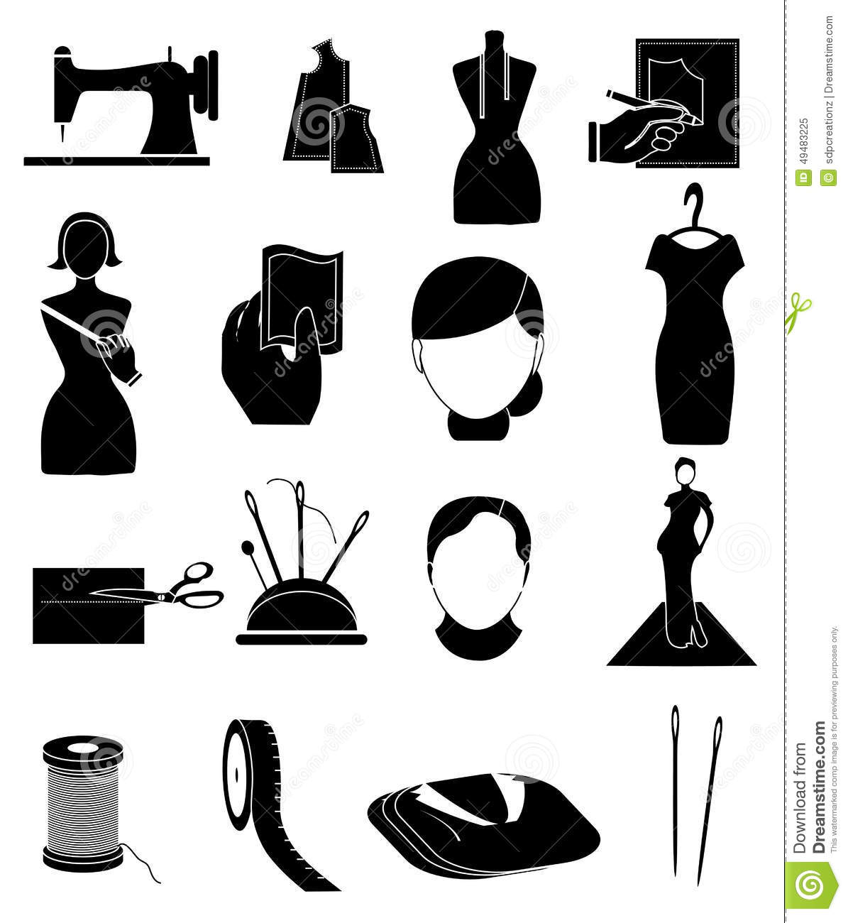 Tailor Fashion Designer Icons Set Stock Vector