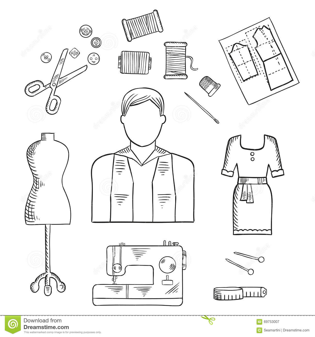 Tailor Or Fashion Designer Profession Sketch Icon Stock Vector Illustration Of Measure Cloth
