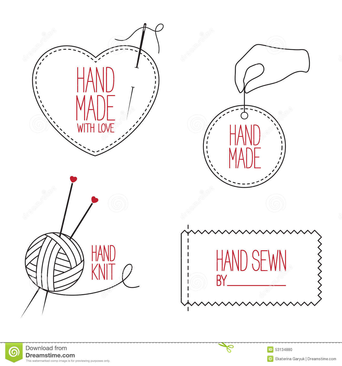Tailor and handmade emblems set stock vector image 53134880 for Badge fait maison