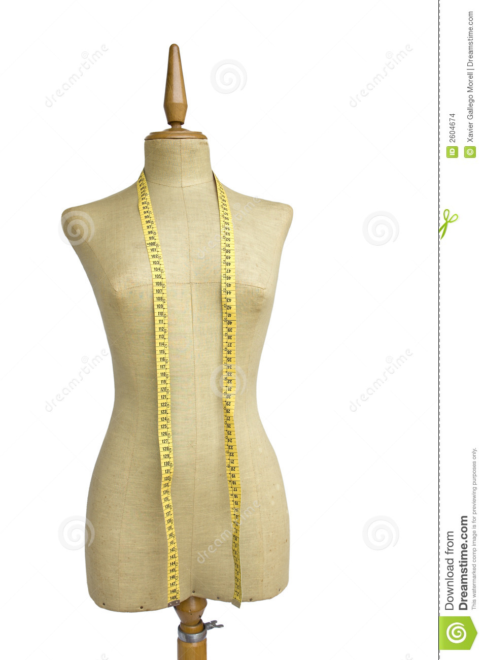 Tailor mannequin with tape measure isolated on white.
